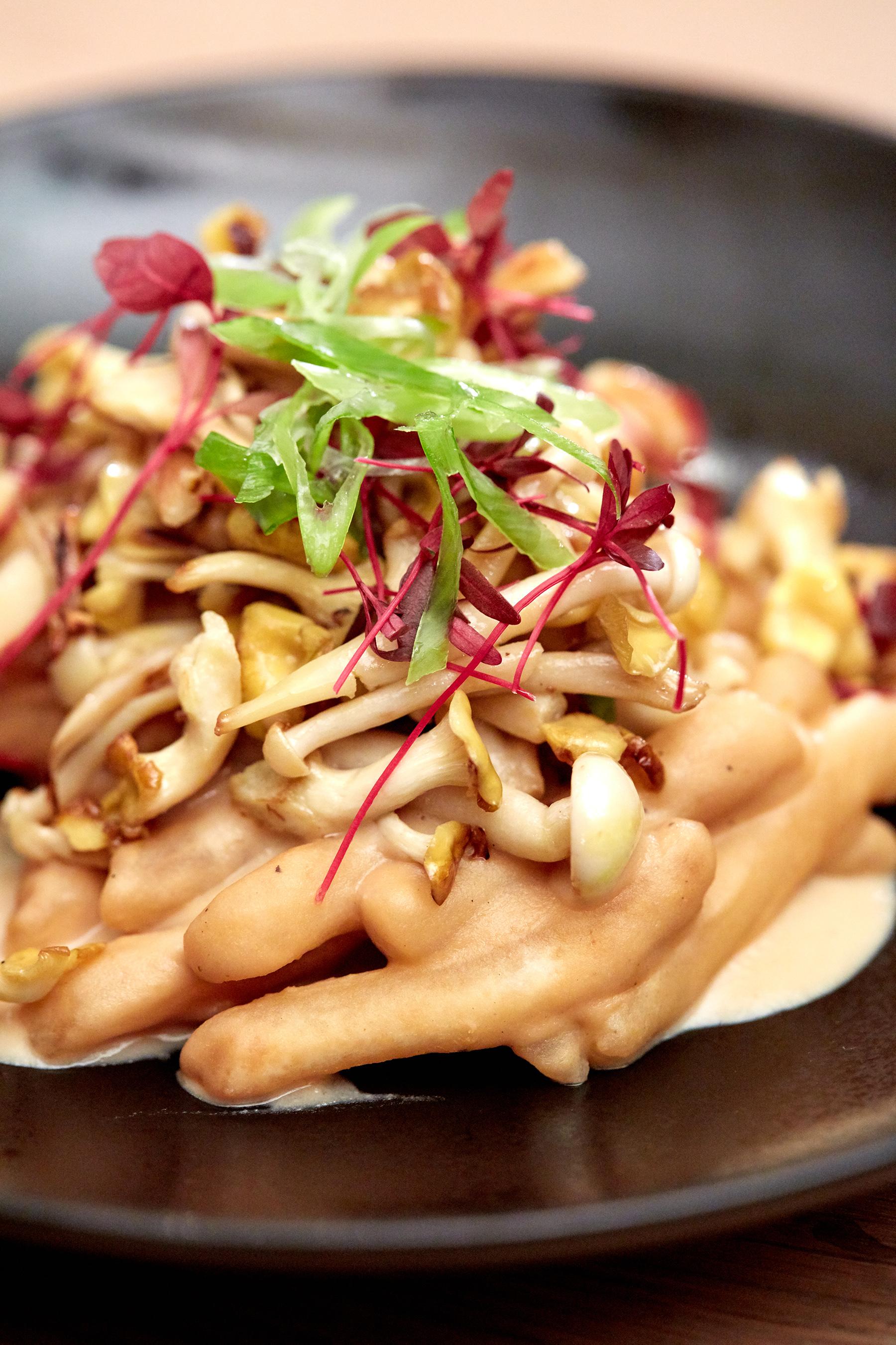 Chef Esther Choi's Rice Cake Gnocchi with Hummus Soy Cream Sauce and Crispy Wild Mushroom