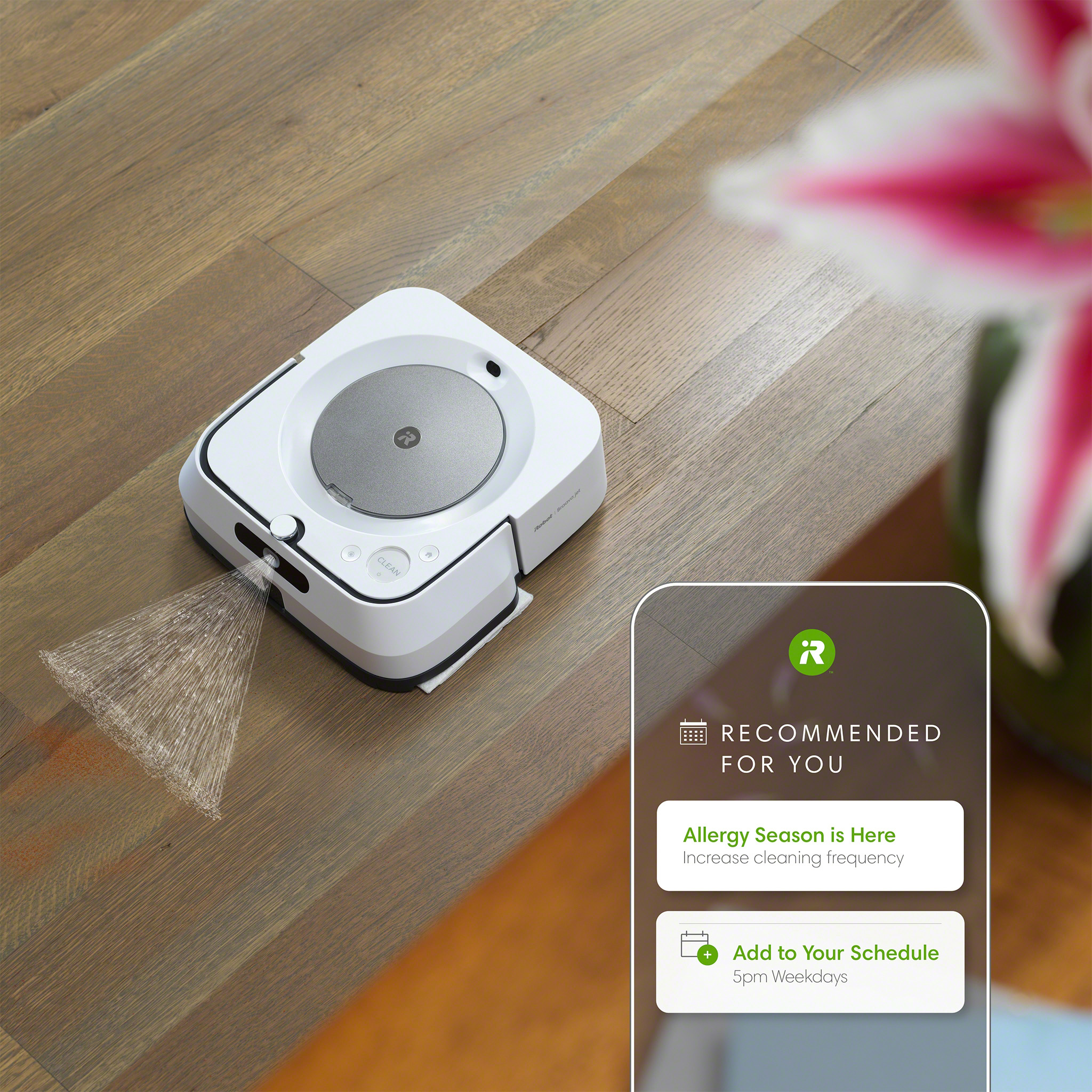 The new iRobot Home App can make personalized cleaning suggestions for when your home may need more frequent cleaning, such as pet-shedding or allergy seasons.