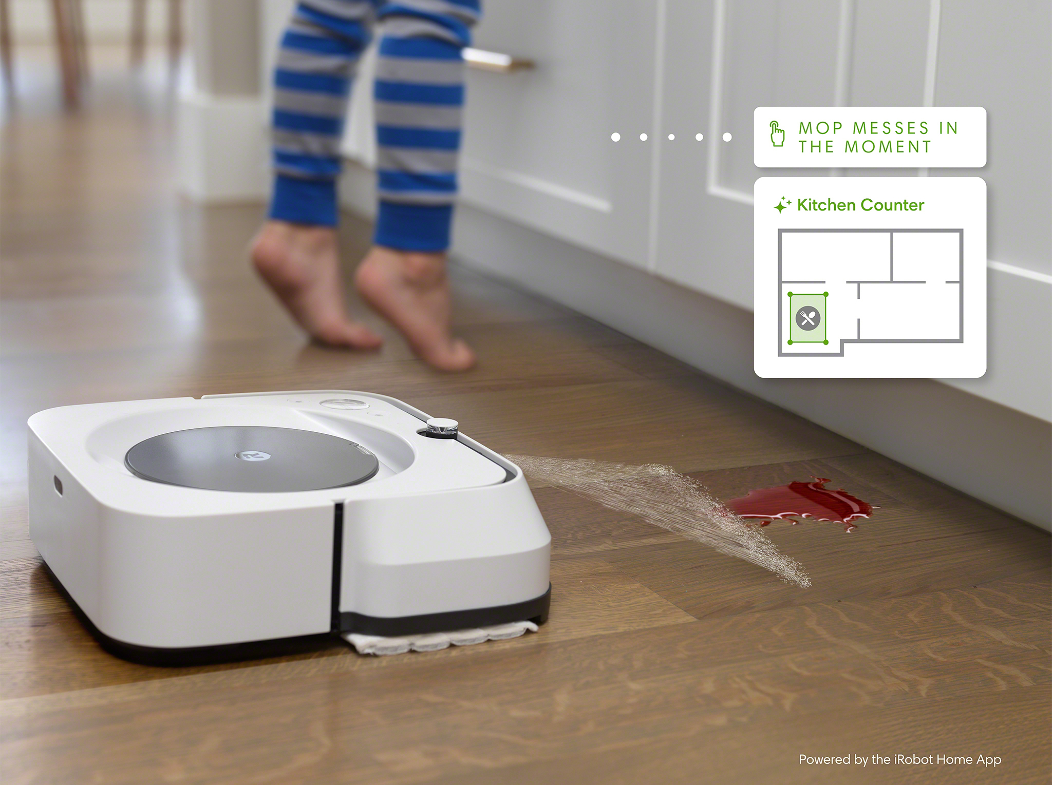 Send your Roomba robot vacuum or Braava jet robot mop to clean a mess right where it happens with precision Clean Zones. Roomba robot vacuums and Braava robot mops with Imprint™ Smart Mapping can automatically detect and proactively suggest Clean Zones around specific objects, like kitchen counters.