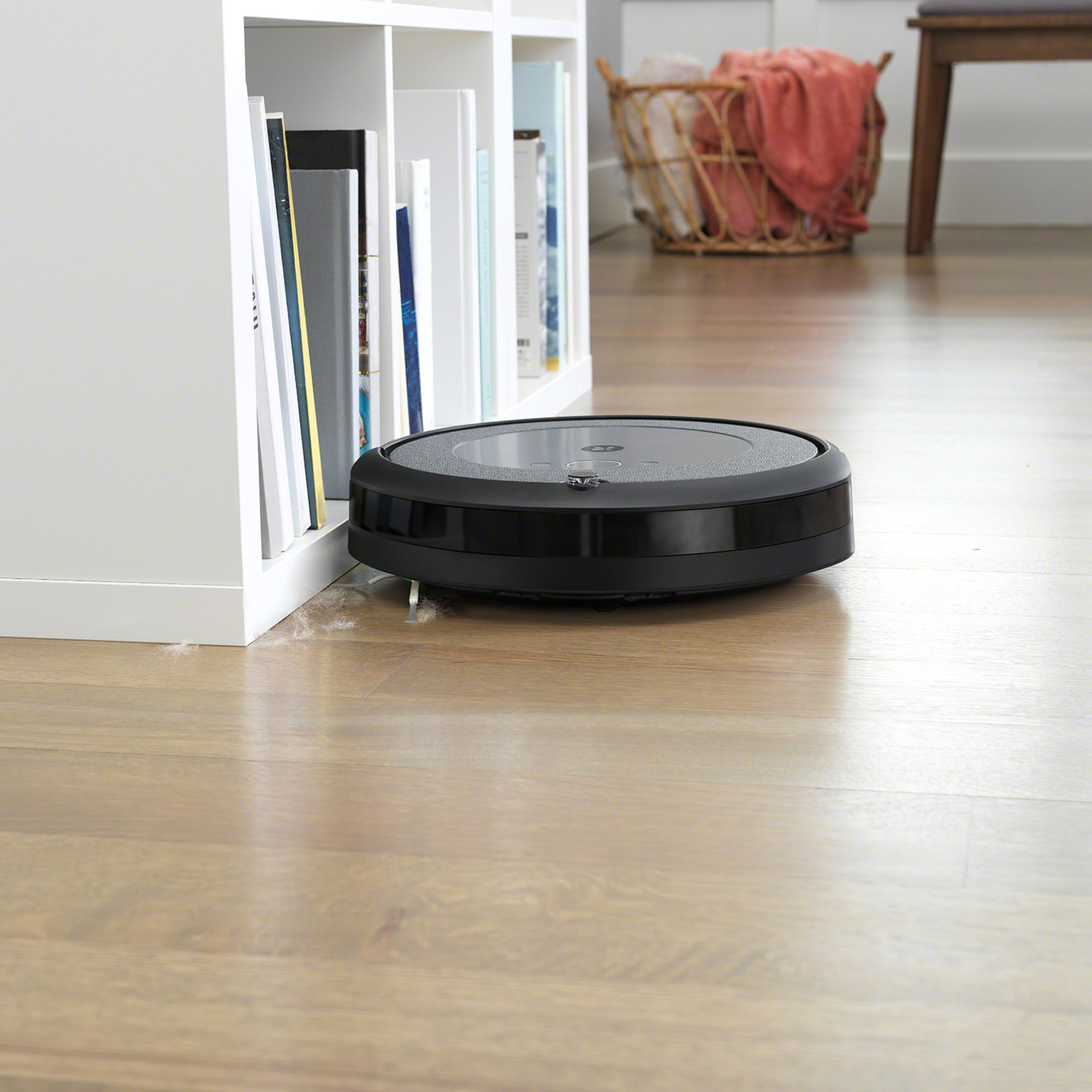 The iRobot Roomba i3+ pulls in stubborn dirt and messes with a 3-Stage Cleaning System that uses Dual Multi-Surface Rubber Brushes, an Edge-Sweeping brush for walls and corners, and 10X the Power-Lifting Suction as compared to Roomba 600 Series.