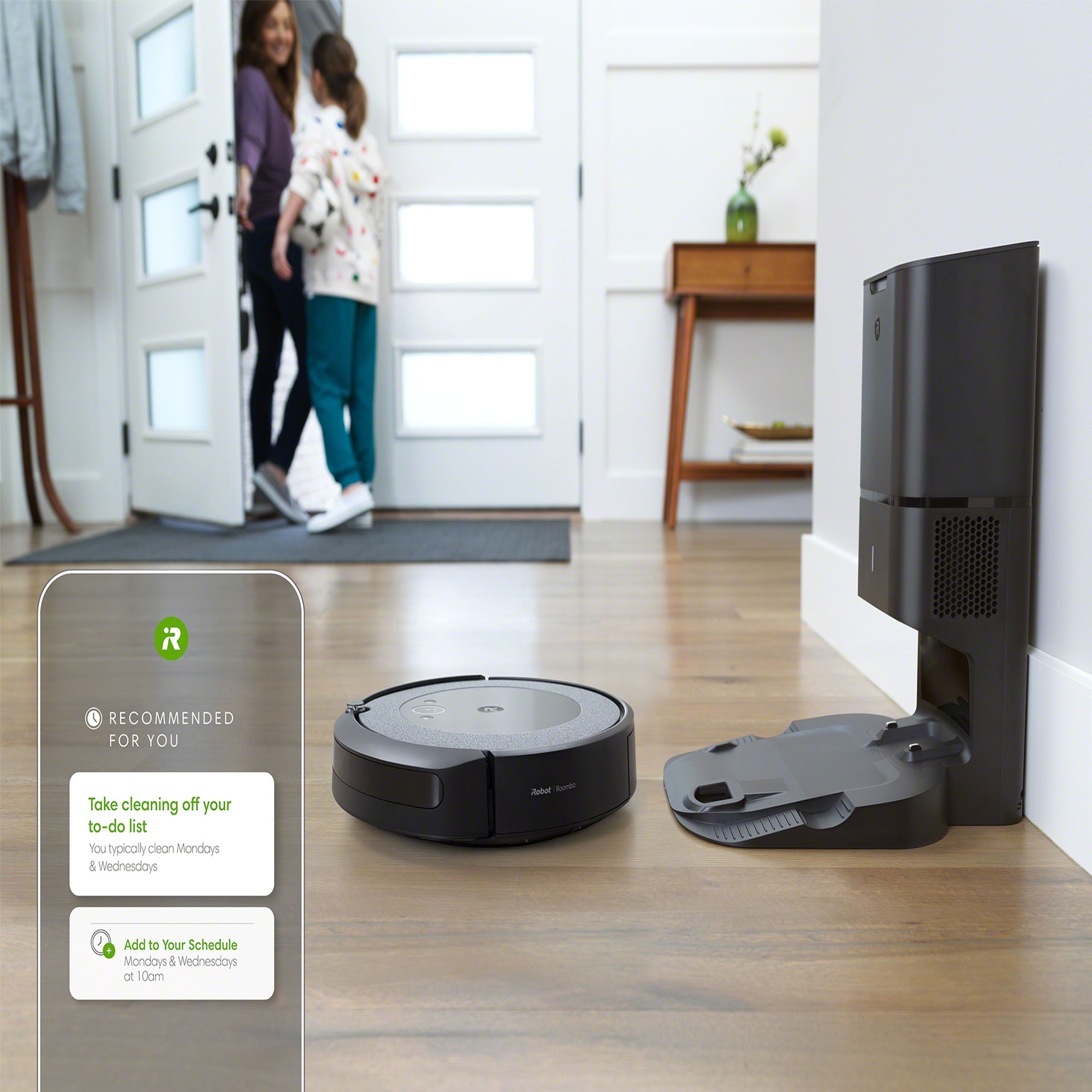 The iRobot Roomba i3+ with Clean Base® Automatic Dirt Disposal fits into your life with personalized cleaning features and recommended cleaning schedules, powered by the recently launched iRobot Genius™ Home Intelligence.