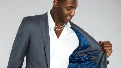 RJ Barrett in Solid Steel Gray Suit with Number 9 (blue with number 9 and crown pattern) Lining