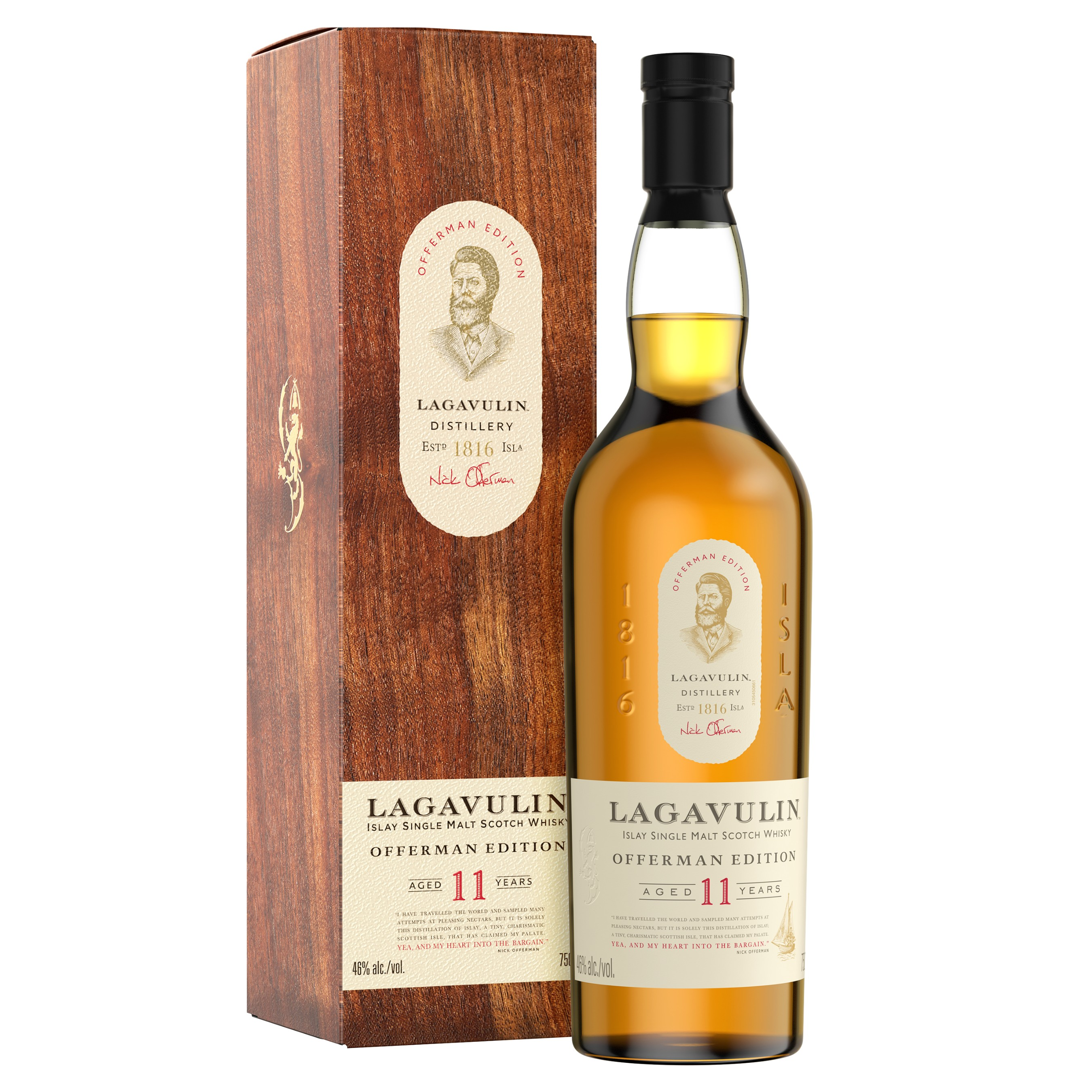 Lagavulin Offerman Edition Aged 11 Years is a limited edition Single Malt that carries the signature Lagavulin peatiness but with extra spice and notes of dried fruit to carry the smoke.