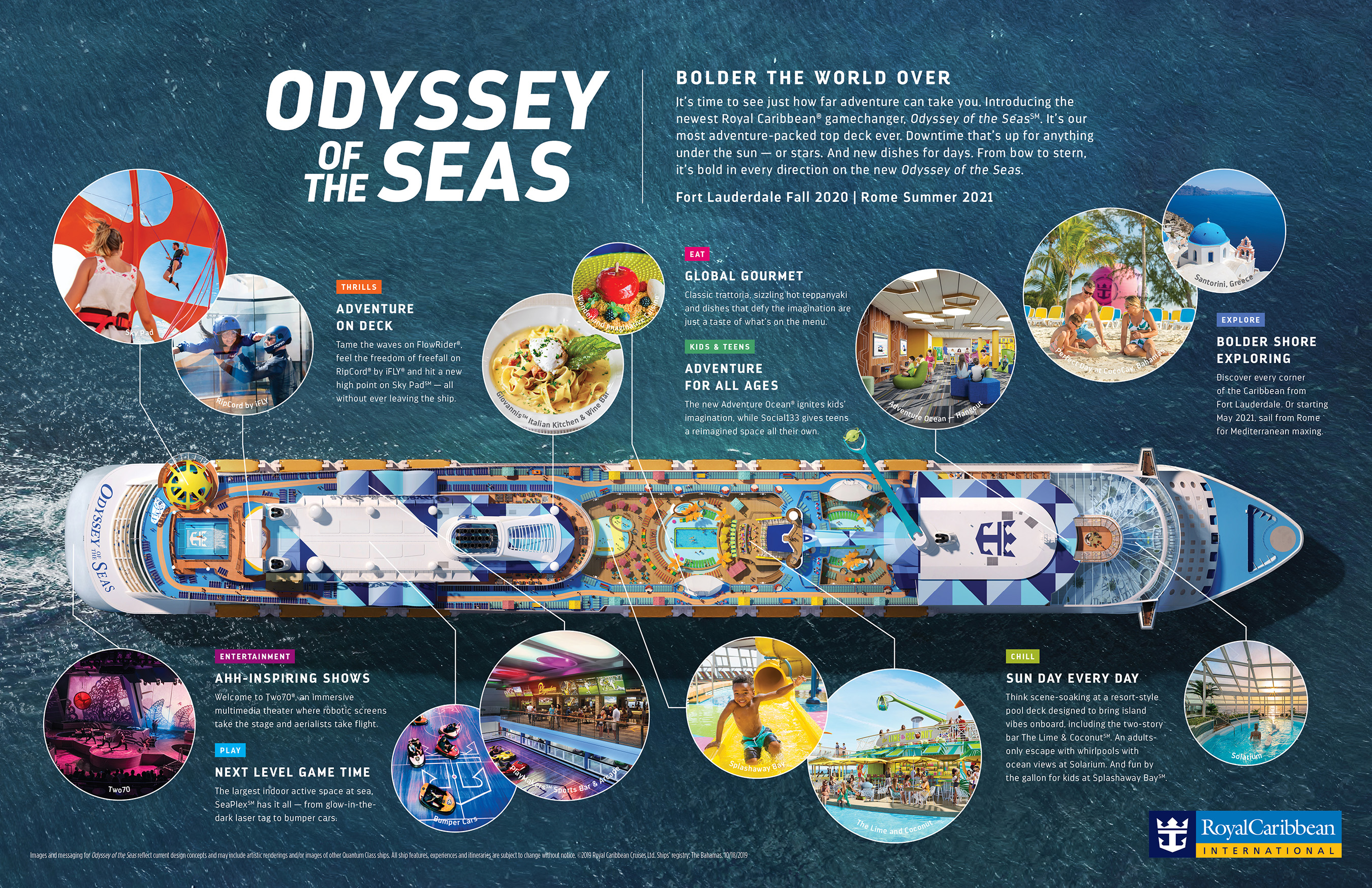 Royal Caribbean's Odyssey of the Seas will tout a brand-new look to match the fleet's most action-packed top deck to date, and a mix of record-holding hits and groundbreaking firsts for a game-changing cruise vacation. The second Quantum Ultra Class ship arrives to Fort Lauderdale November 2020.
