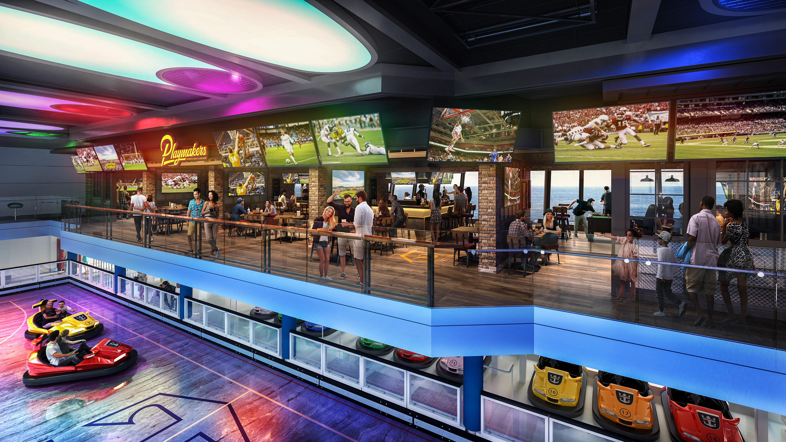 Odyssey of the Seas will combine the best of Quantum Class with new Royal Caribbean favorite Playmakers Sports Bar & Arcade, now boasting a prime location within SeaPlex. With TVs at every angle to cheer on the home team and club-level views of the competition below, sports fans won't miss a beat. Odyssey debuts in Fort Lauderdale November 2020.