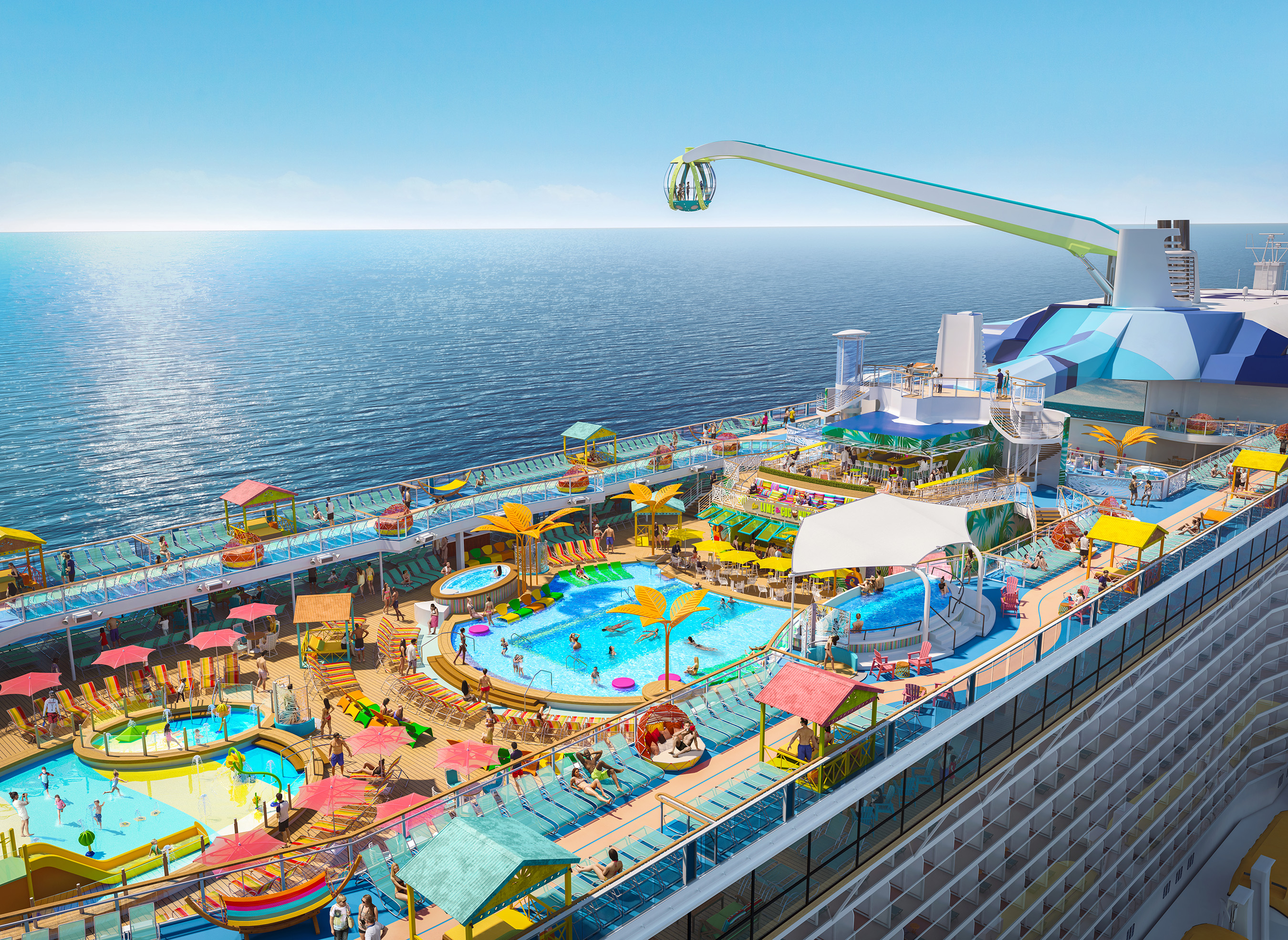 Debuting November 2020, Odyssey of the Seas will tout a vibrant, two-level pool deck where two resort-style pools, a kids aqua park and four whirlpools are surrounded by shady casitas and hammocks, perfect for enjoying the sea breeze under the sun and stars.
