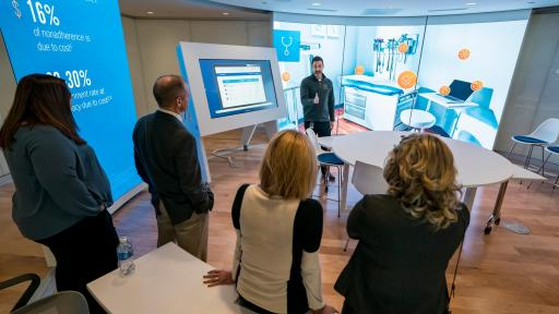 Attendees at the opening of the newly updated and expanded Lab at Express Scripts experience the Rapid Prototyping and Immersion area on Tuesday, Nov. 12, 2019, in St. Louis.