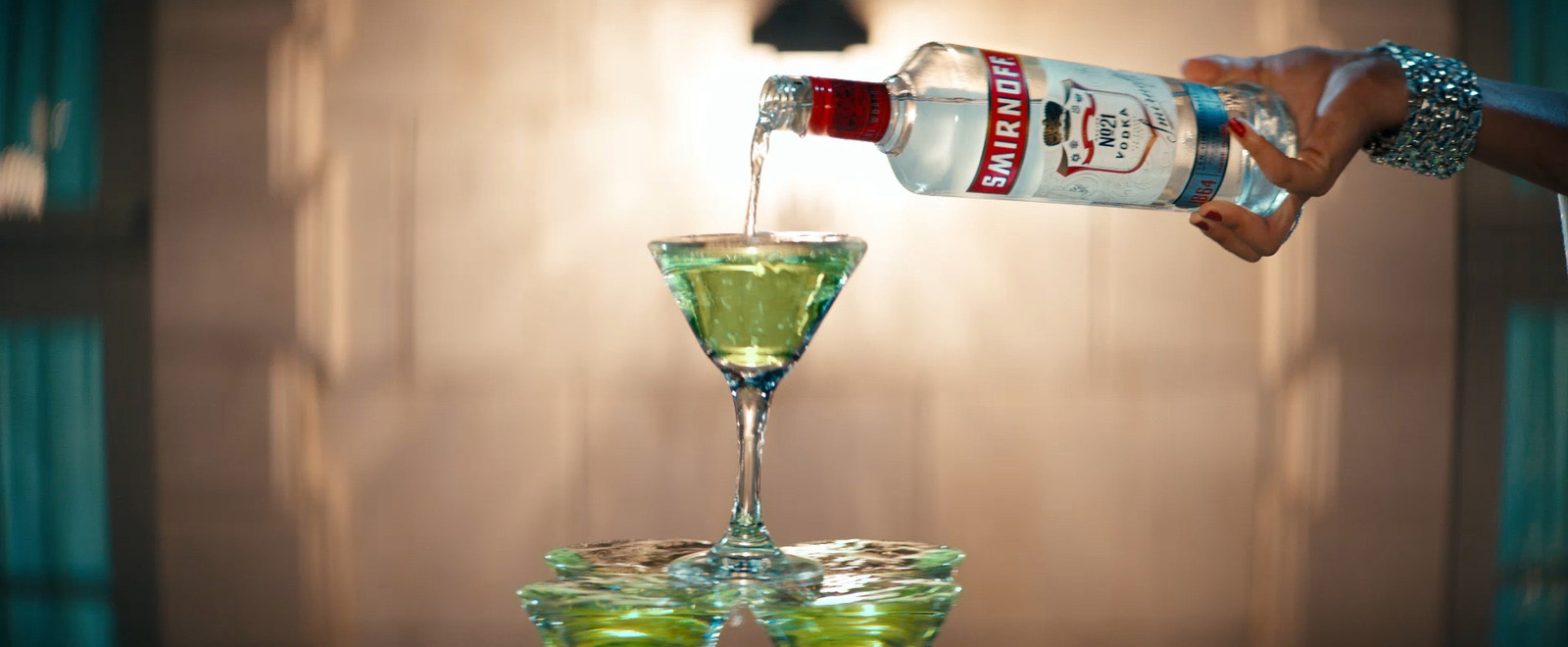 Smirnoff creates a cocktail tree made out of festive Smirnoff No. 21 Green Apple Martinis.