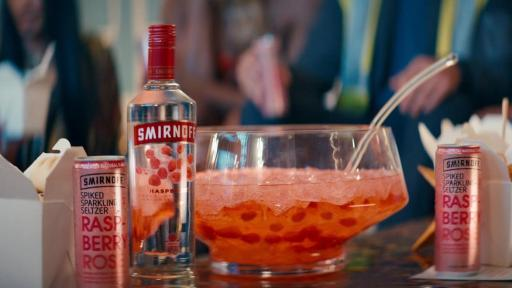 Smirnoff Raspberry and Smirnoff Raspberry Rose Seltzer steal the show as the perfect pairings for Chinese takeout at Smirnoff's holiday party.