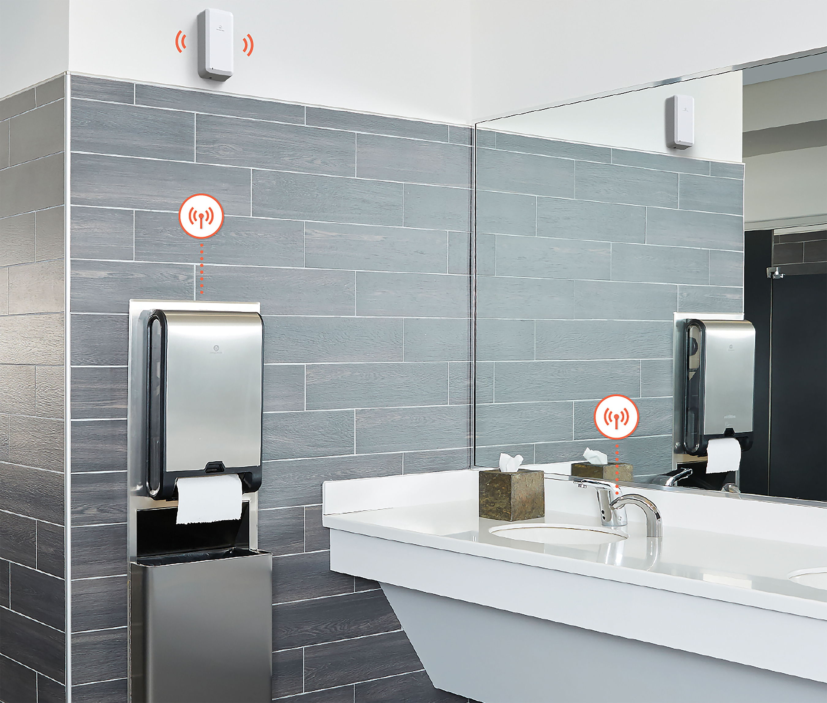 The KOLO™ Smart Monitoring System is a wireless communication platform that sends alerts from IoT-enabled restroom fixtures like paper towel and tissue dispensers to custodians on a mobile device.