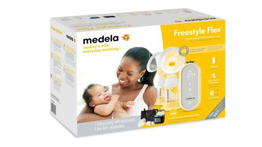 Medela's Freestyle Flex™ comes with a double pumping kit, two sizes of PersonalFit Flex™ Breast Shields, power adaptor with USB charging cable, breast milk feeding bottles and lids, bottle stands and carry bag.