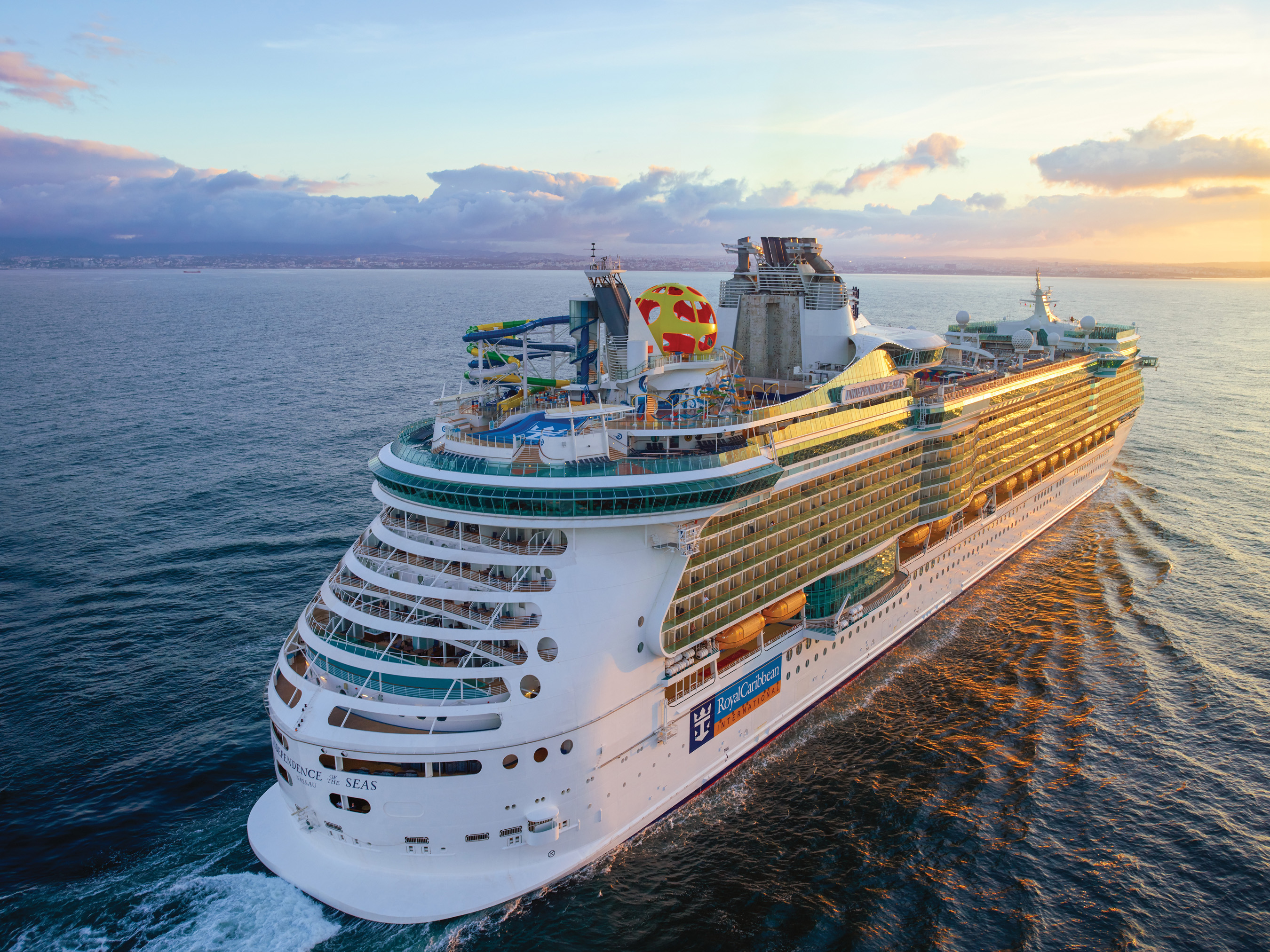 The amplified Independence of the Seas touts adventure for everyone, from the FlowRider surf simulator, to glow-in-the-dark laser tag and the first VR, bungee trampoline experience in Sky Pad.