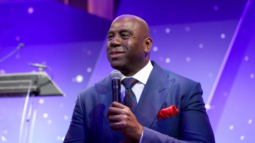 "Earvin ""Magic"" Johnson delivers powerful remarks about courage and leadership during the 2019 Achilles International Gala."