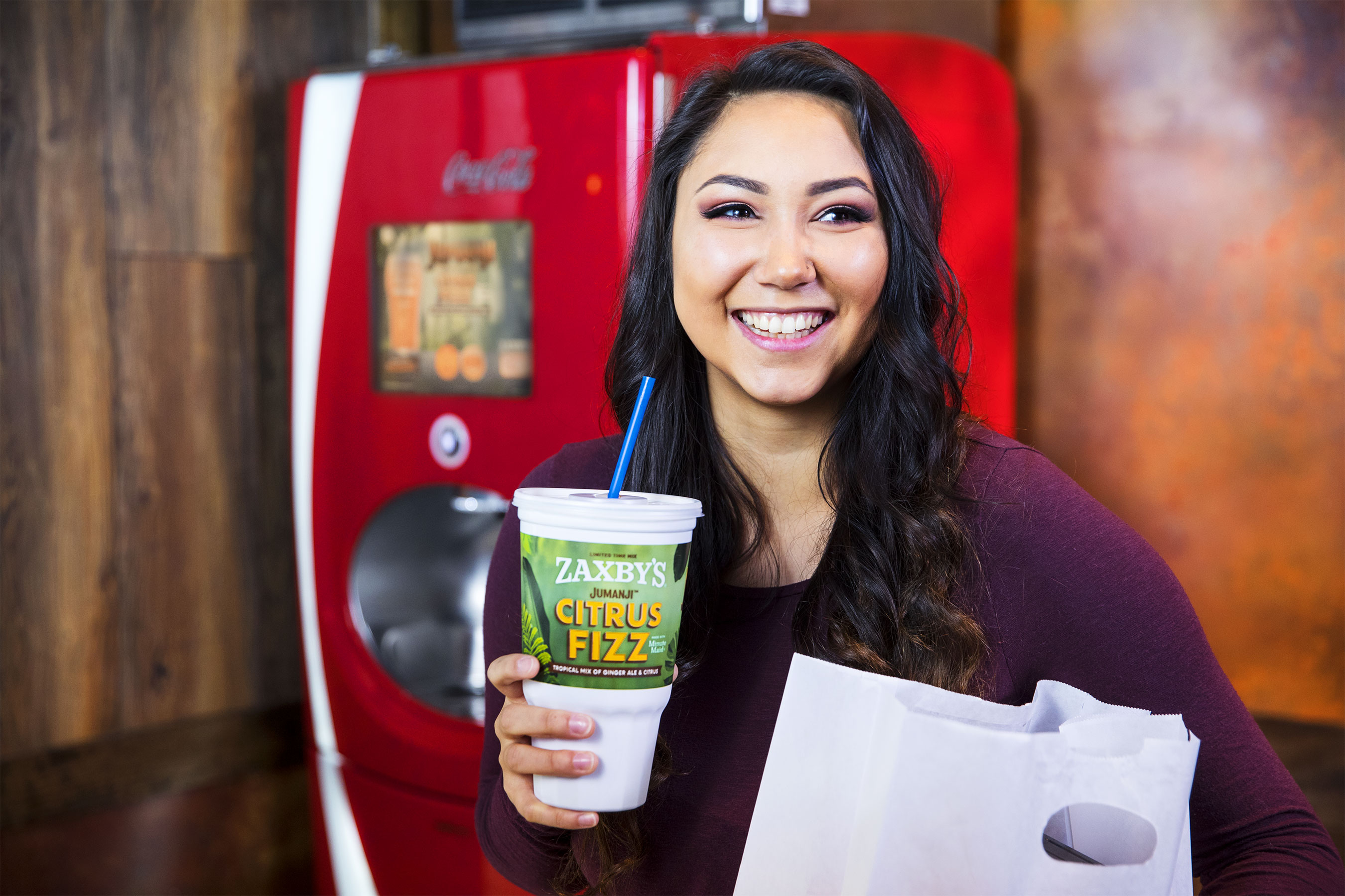 Customers looking for a movie-themed drink may try the custom limited-time Coca-Cola Freestyle Jumanji Citrus Fizz, also available in Lite. Made with Minute Maid Orange and Seagram's Ginger Ale, the beverage has a sparkling, citrusy orange taste that pairs with either of the new sandwiches.