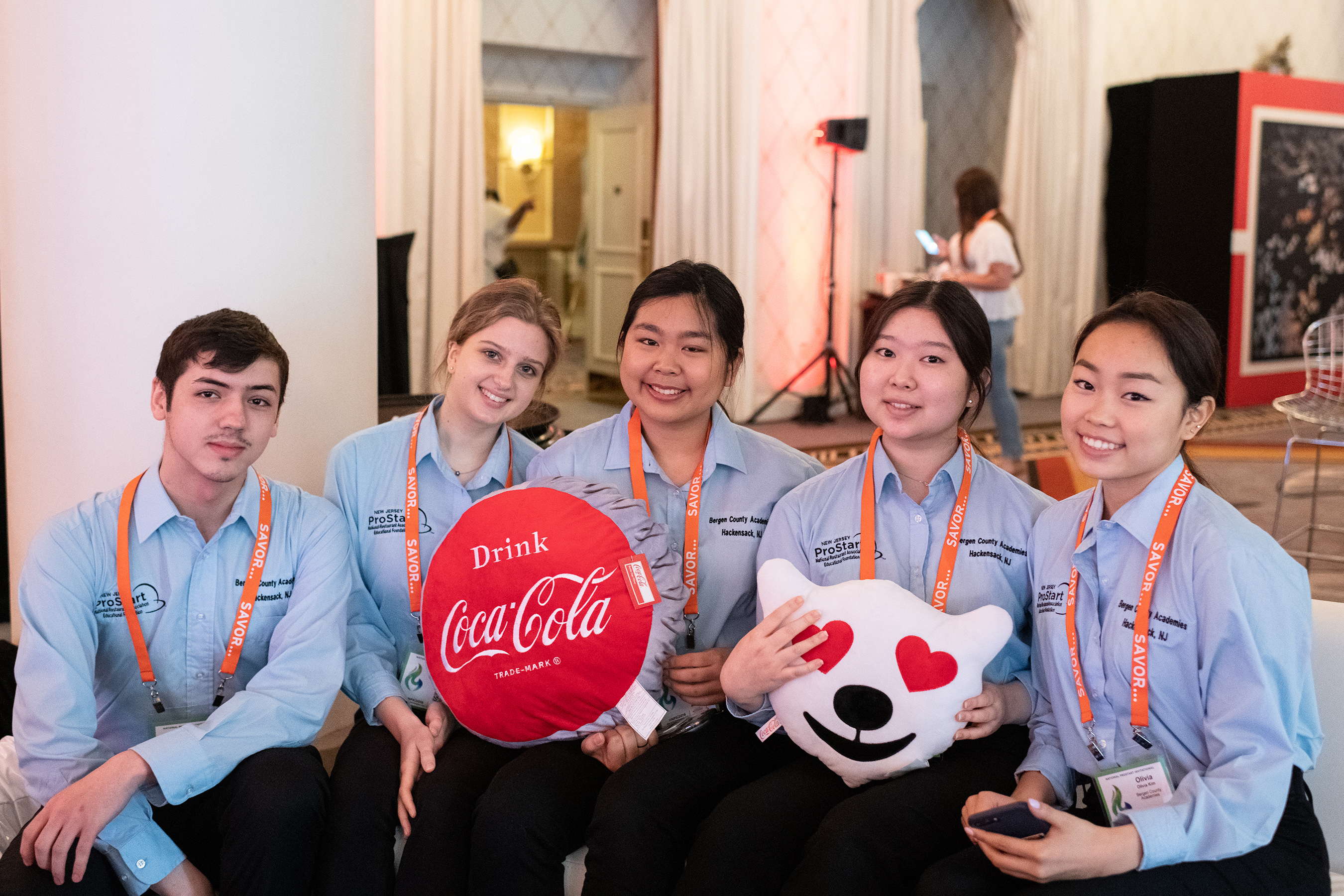 The NRAEF thanks Coca-Cola for investing in preparing the next generation of restaurant leaders. Pictured here: ProStart students from New Jersey who traveled to Washington, D.C. to compete in the 2019 National ProStart Invitational.