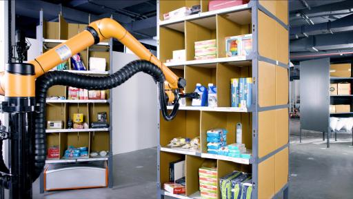 Ranger Picking Robot with arm and claw hand grabs a product on a shelf