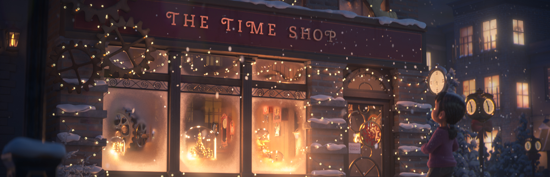 The Time Shop illustration of a kid looking into the shop on a winter night