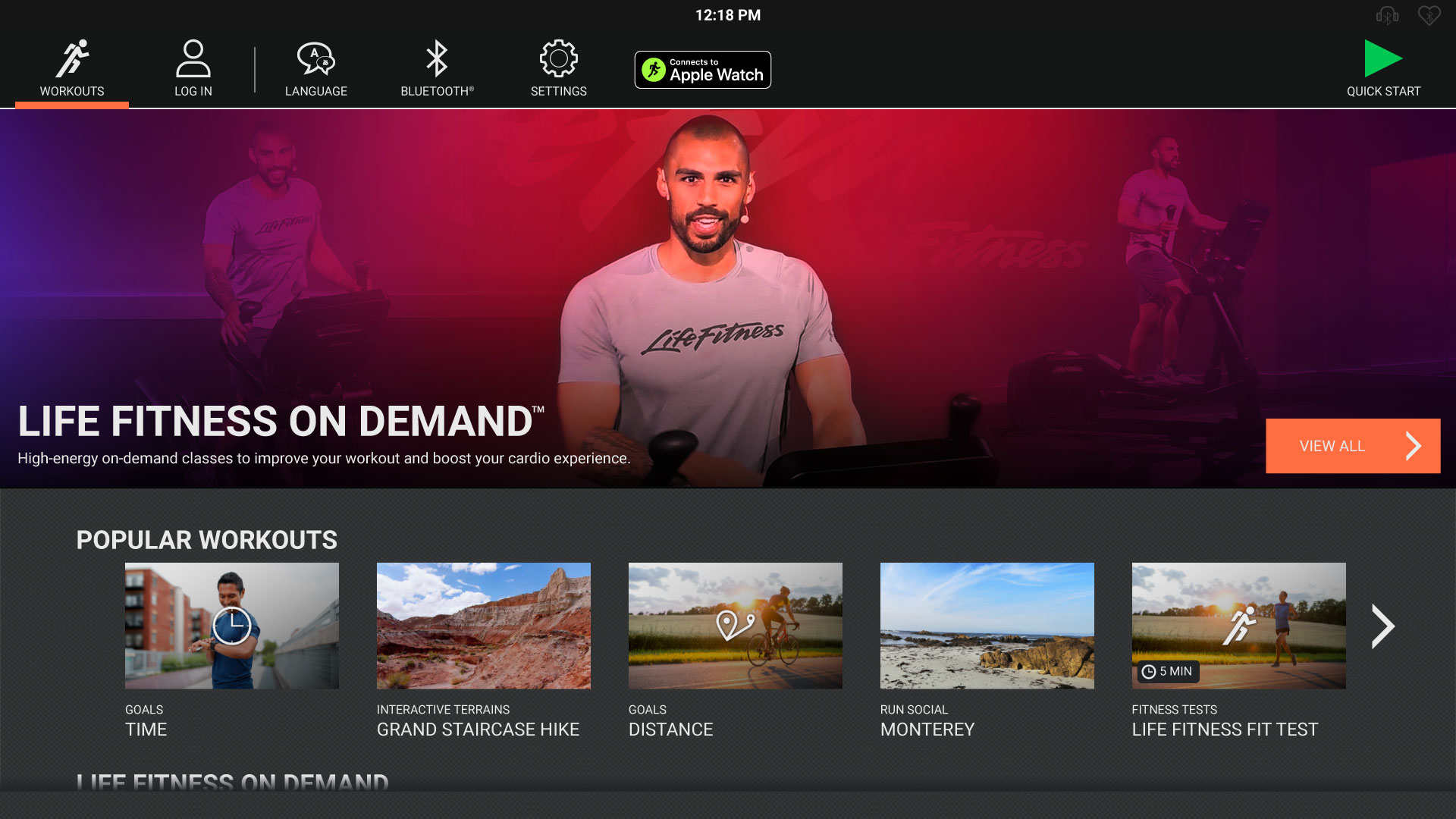 The new Life Fitness On Demand™ navigation screen, coming soon to premium cardio products.