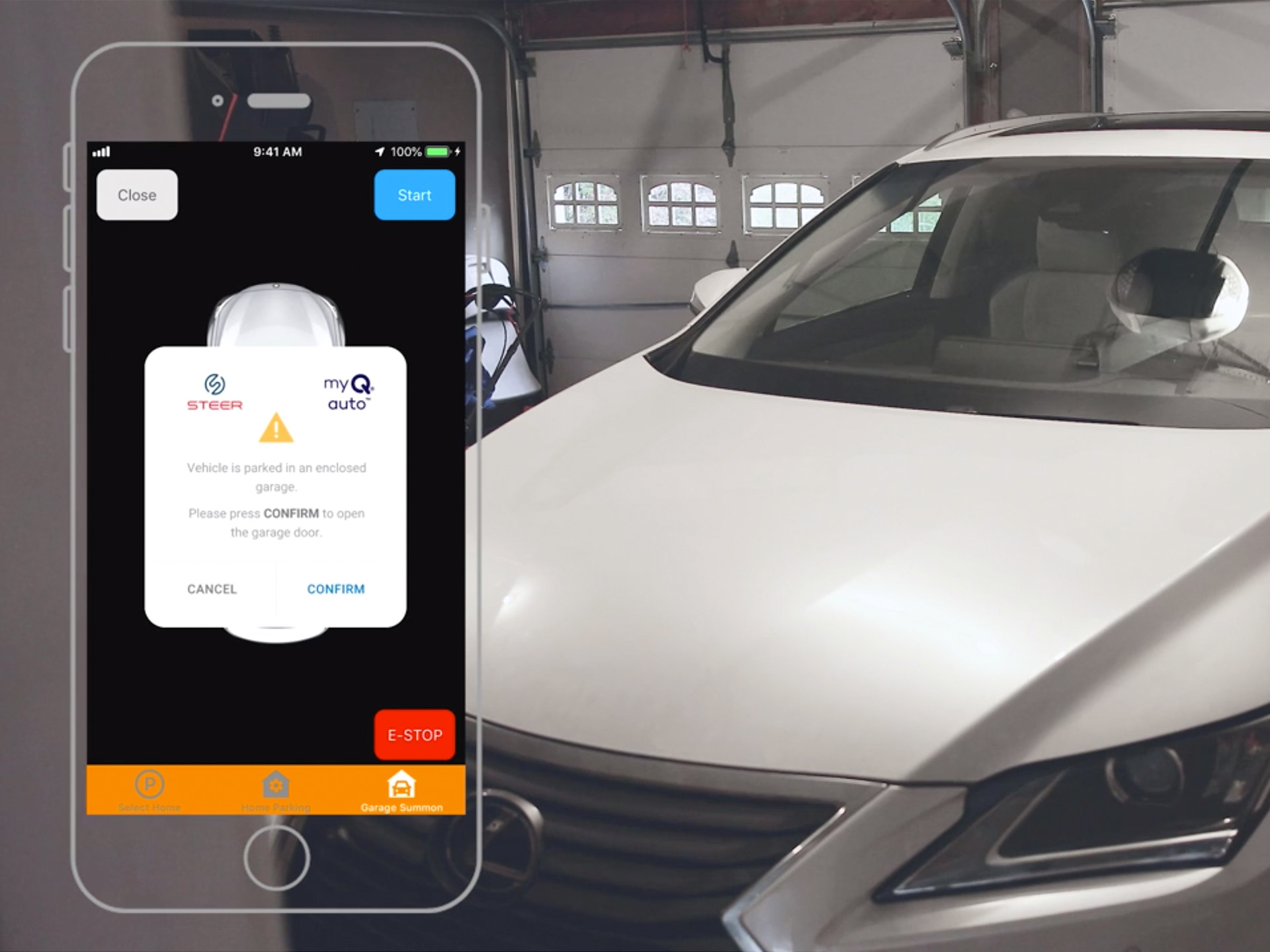 The myQ Safe Remote Start™ feature sends an automatic alert to the car owner through the STEER app letting them know it is unsafe to start the car and prompts the owner to open the garage door.