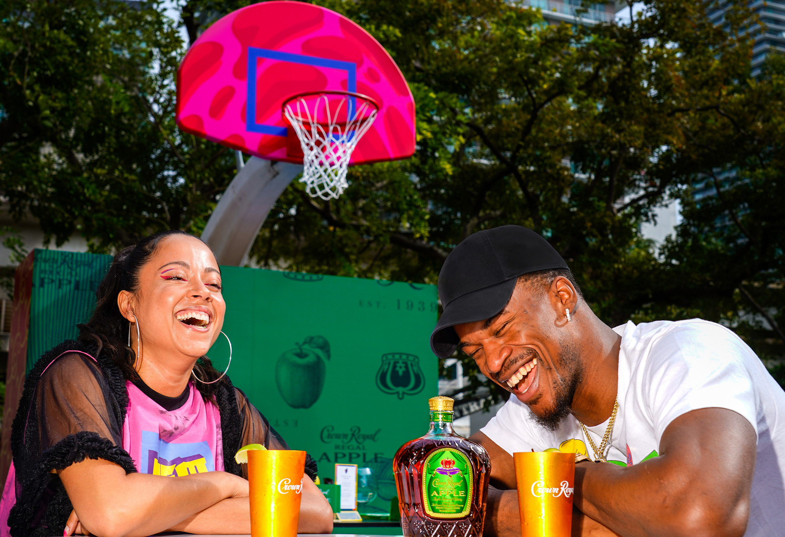 Jimmy Butler and D'ana of COVL team up with Crown Royal Regal Apple to unveil The Royal Court at Miami Art Week 2019 (Photo by Jack Dempsey for Crown Royal)