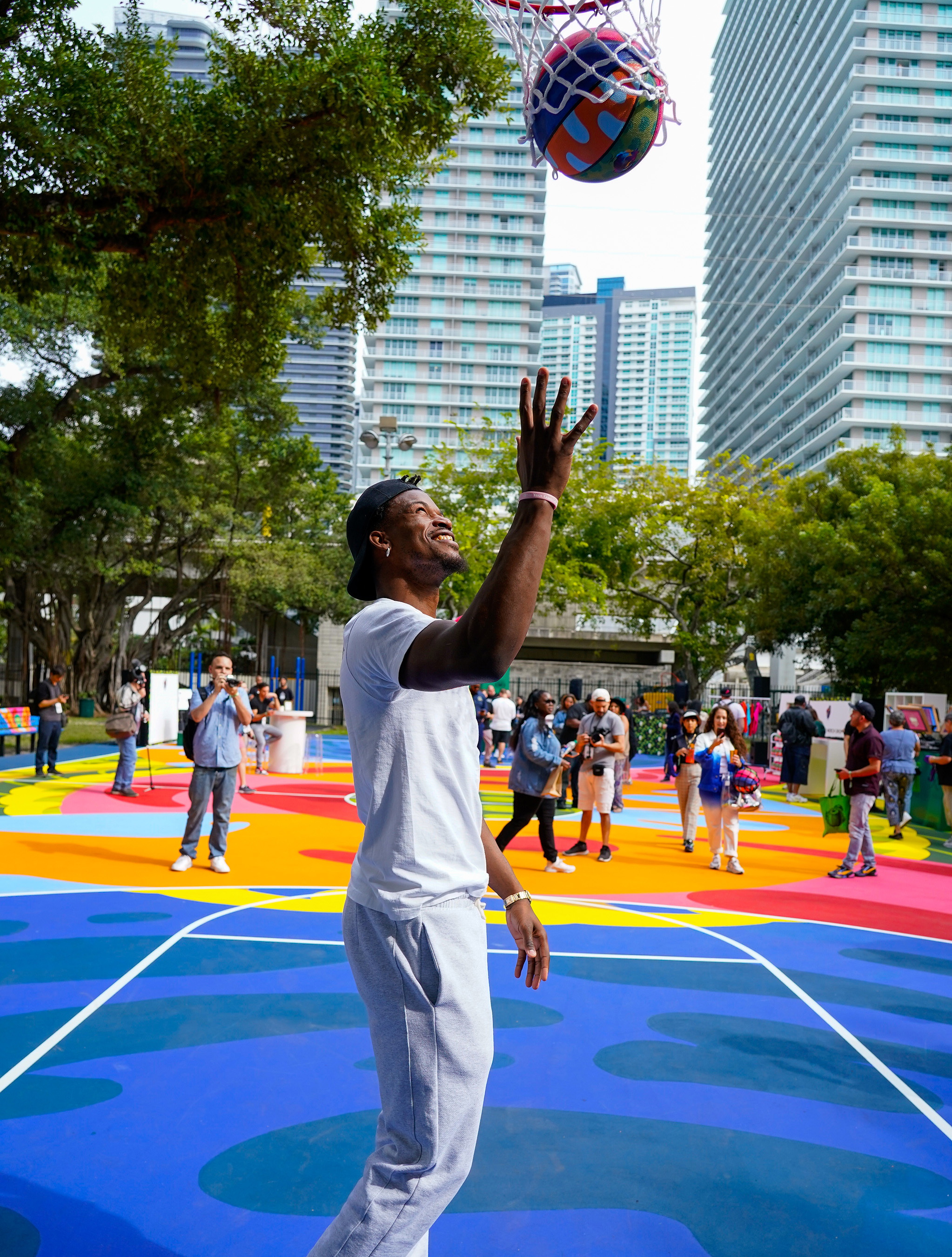 Jimmy Butler joins forces with Crown Royal Regal Apple to unveil The Royal Court at Miami Art Week 2019 (Photo by Jack Dempsey for Crown Royal)