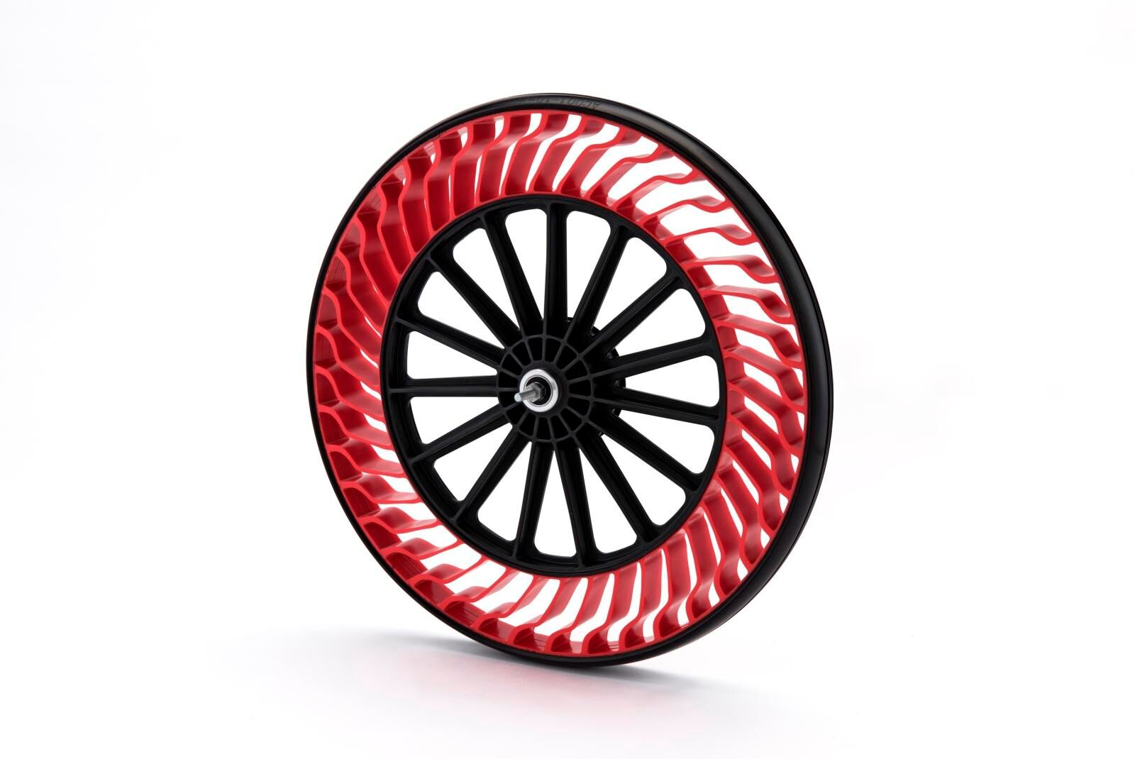 The Bridgestone air free tire concepts on display at CES leverage a proprietary design where tire tread is placed on a unique structure of high-strength, flexible spokes. This eliminates the need for the tire to be filled and maintained with air.