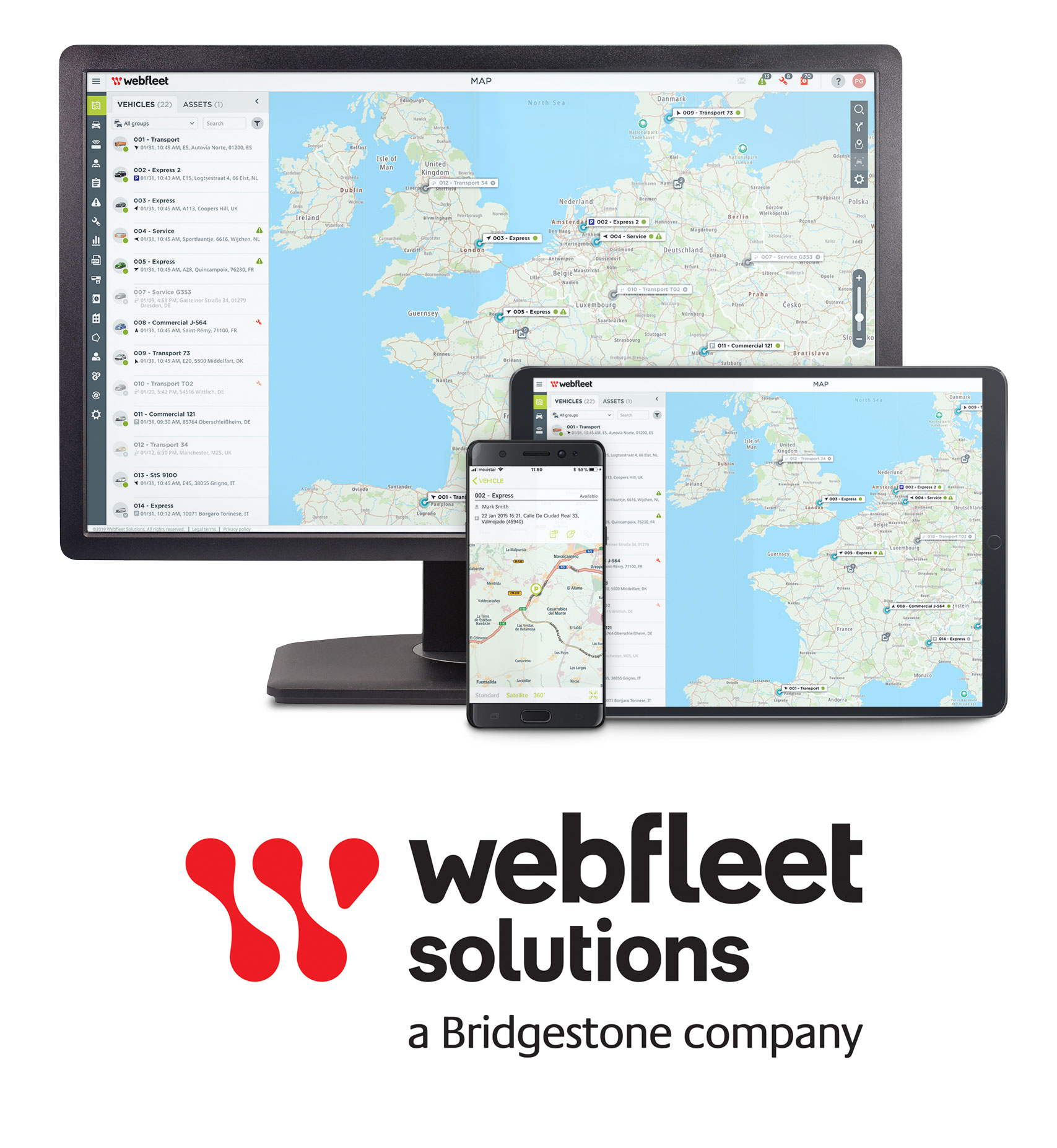 At CES, consumers can view a simulation of the Webfleet Solutions platform from Bridgestone to witness how telematics powers a connected vehicle ecosystem and helps fleets optimize their operations for productivity and cost-efficiency.