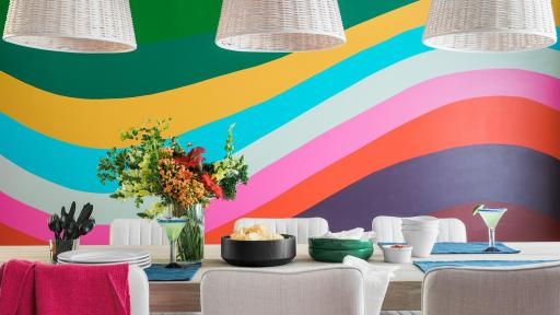 A colorfully decorated dining room
