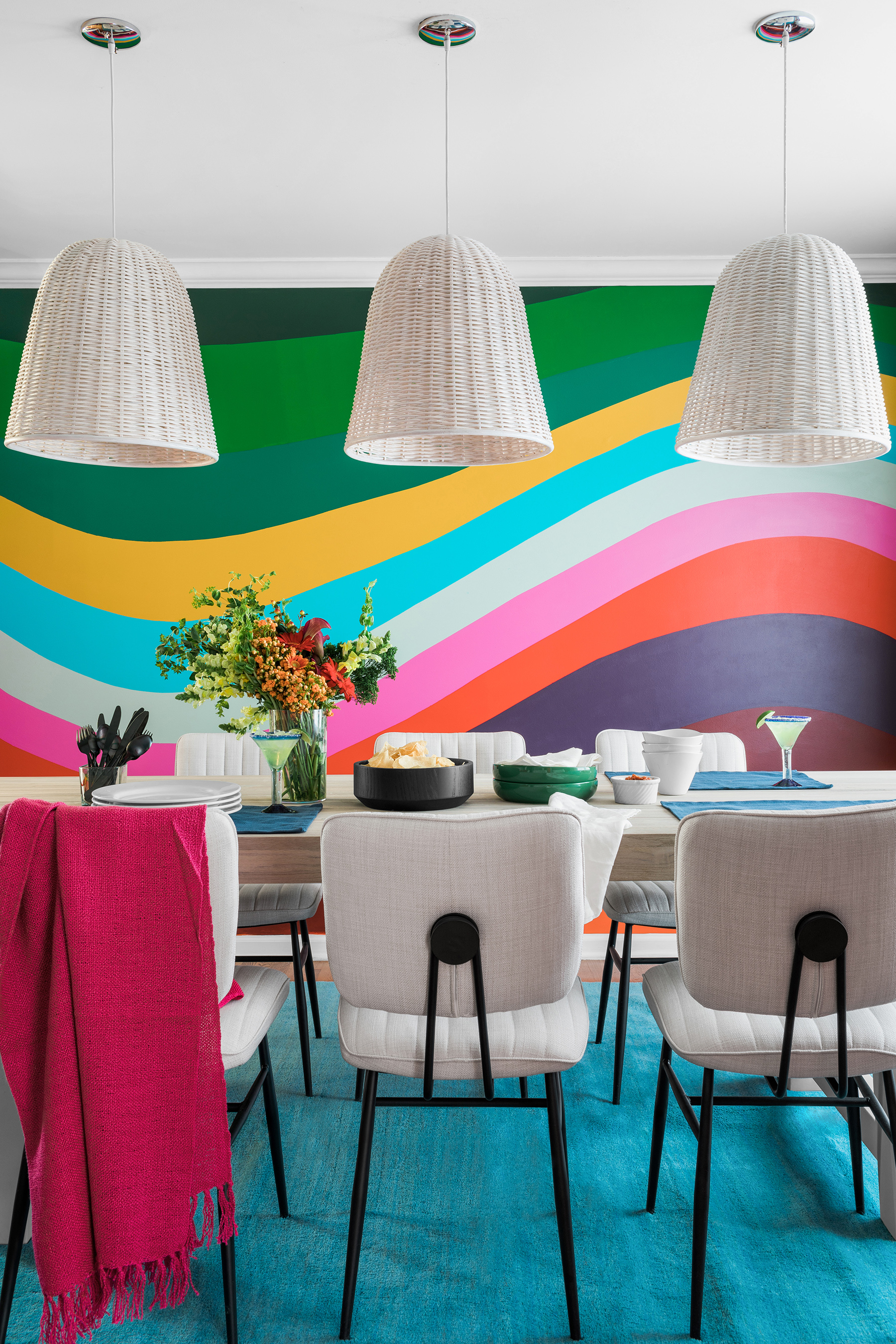 Dining room like no other with Chili's signature hand-painted wave wall. This room is guaranteed to put a smile on your face when you walk in!