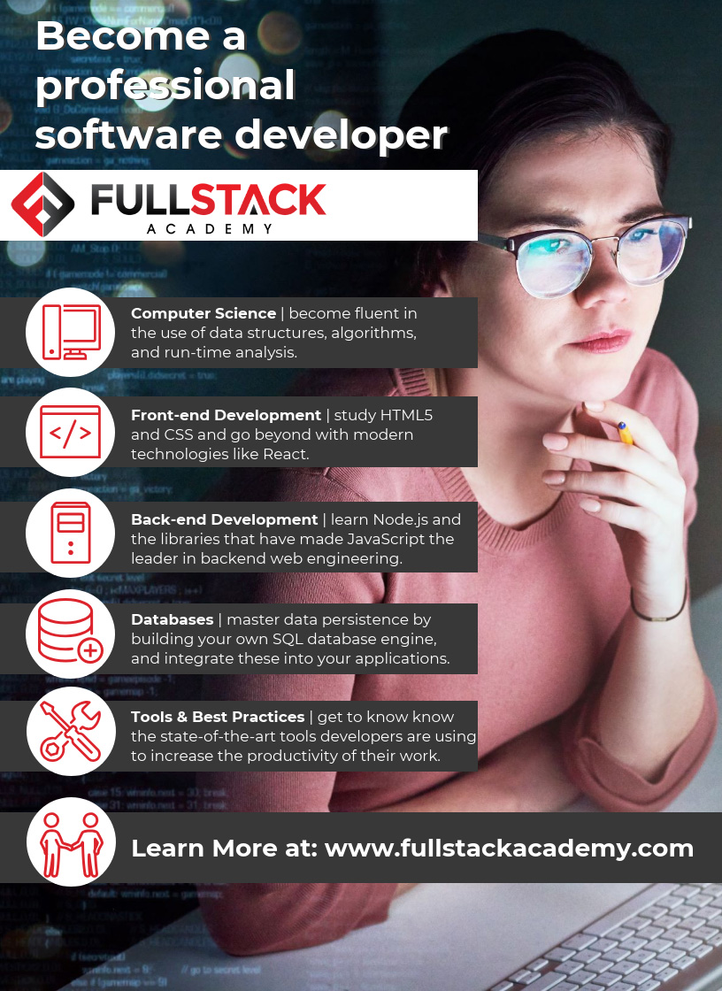 The Fullstack Experience: Learn front-end and back-end technologies at the top-ranked immersive bootcamp in NYC and Chicago.
