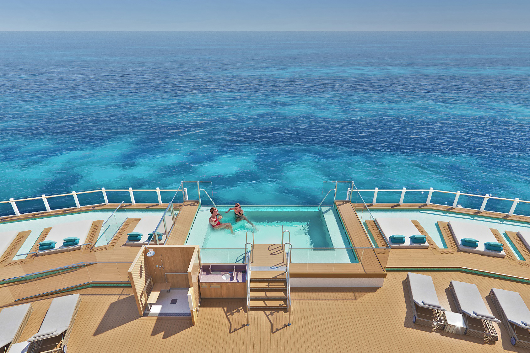 Travelers will enjoy spanning views from Norwegian Prima´s Ocean Boulevard, complete with infinity pools, dining options and a variety of experiences wrapping around the entire deck eight.