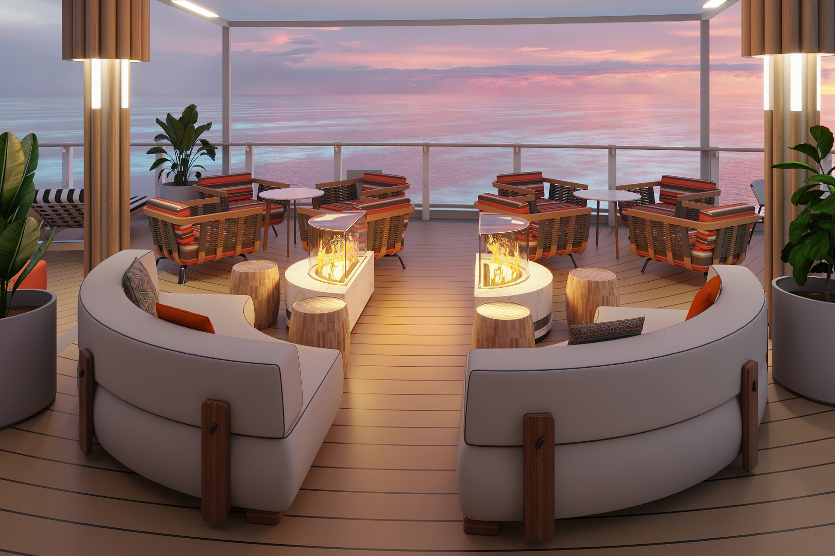 Created to elevate the guest-sensory experience on Norwegian Prima, Indulge Food Hall offers visitors diverse menu items from a variety of culinary venues as well as a mix of indoor and outdoor seating. Guests can enjoy the atmospheric firepit for a place of retreat and quality time.