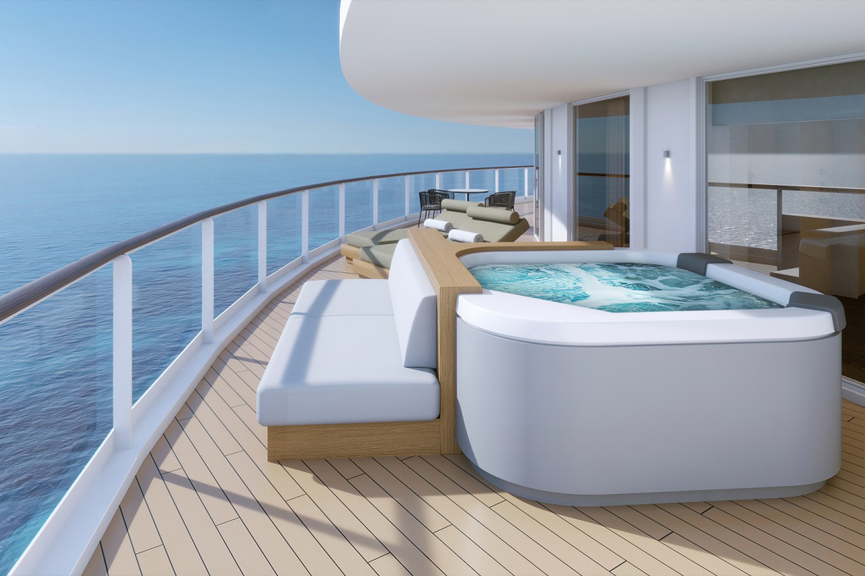 The Haven Deluxe Owner's Suite features a hot tub on the large balcony with an impressive view of the open sea.