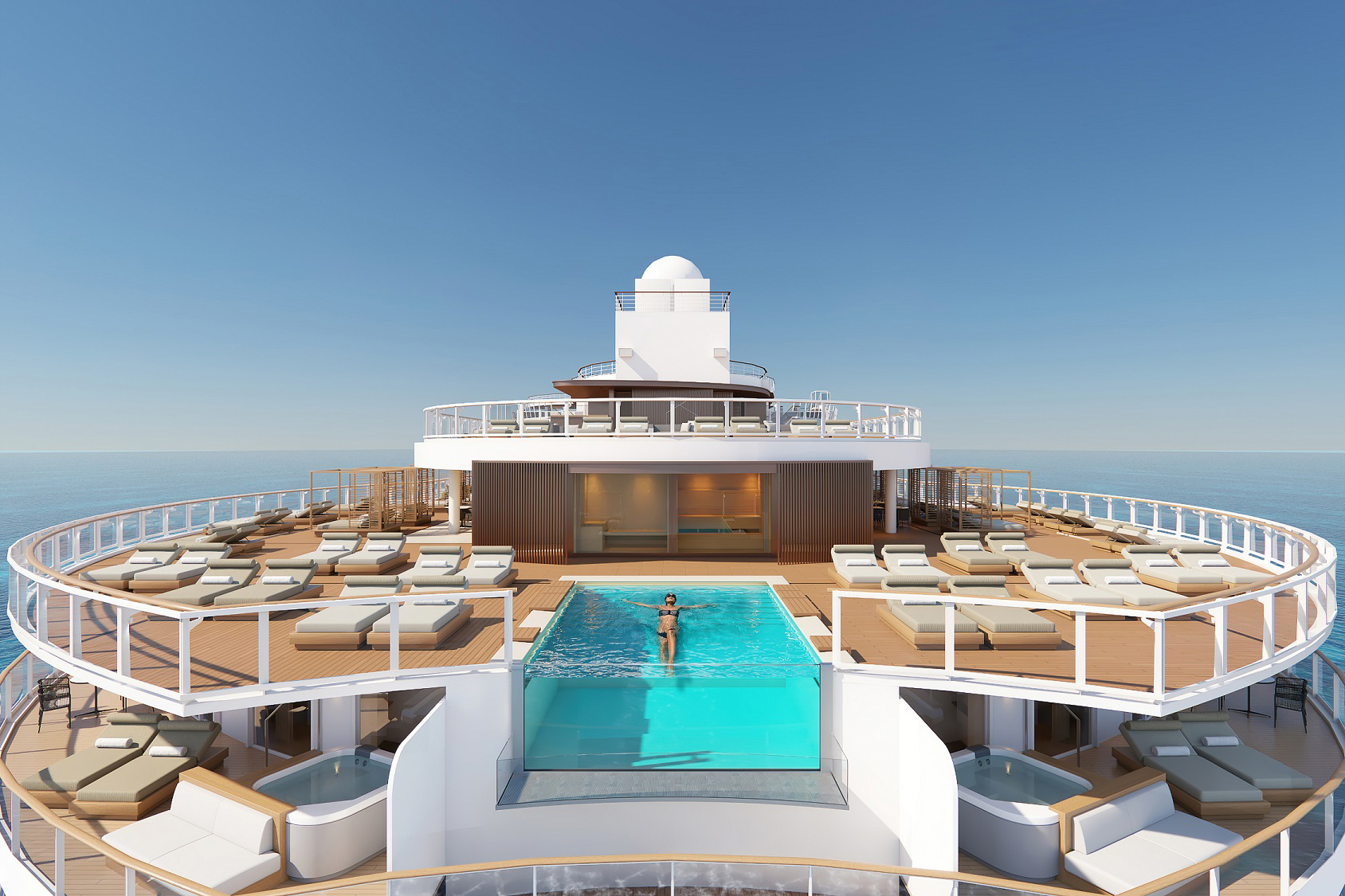 The Haven Sundeck on Norwegian Prima will boast a new infinity pool overlooking the ship's wake and a new outdoor spa with a glass-walled sauna and cold room.