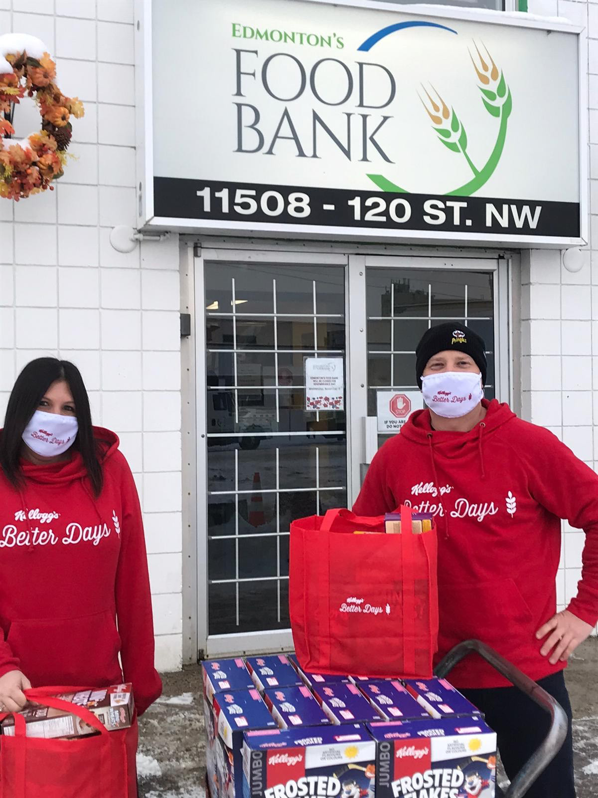 In Canada, the team rallied from coast to coast to create #KCIBetterDays by safely delivering hampers filled with cereal, masks and a note of encouragement to Canadians in need in their communities.