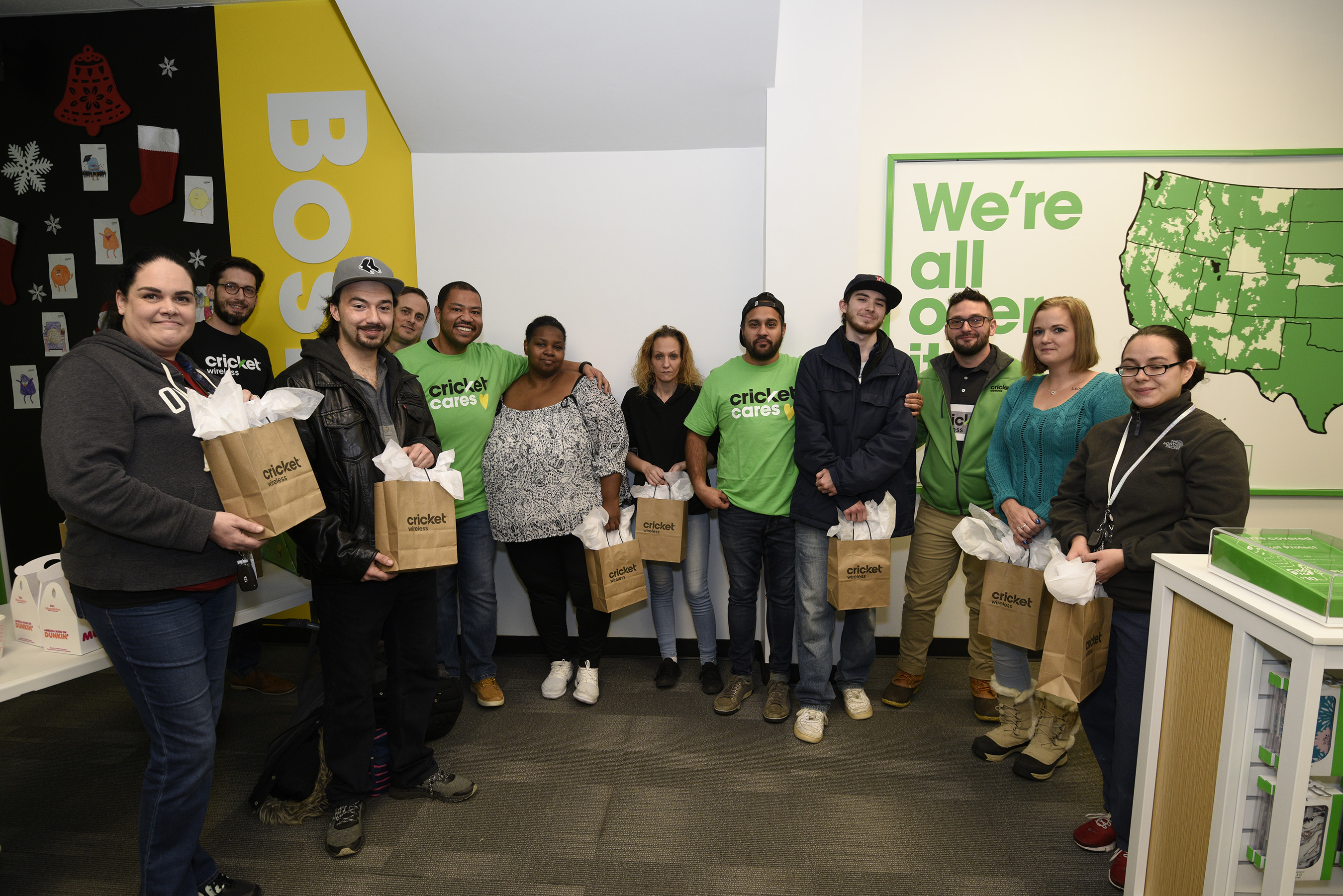 Despite a snowy day, Boston winners and Cricket employees gathered together to enjoy the holiday season and collect prizes.