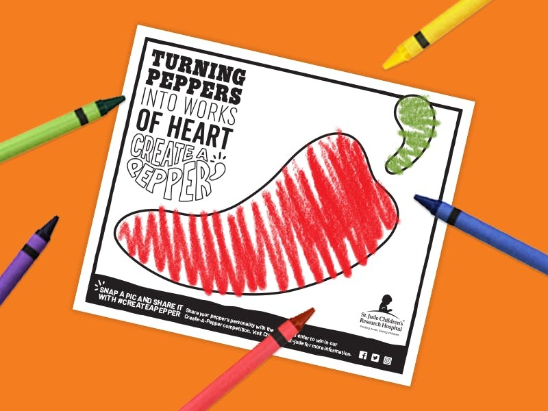 Grab your crayons and turn a pepper with purpose into a work of heart for a $1 donation