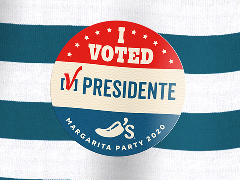 Vote for the Margarita Party by ordering a $5 Presidente Margarita to get this commemorative sticker while supplies last.