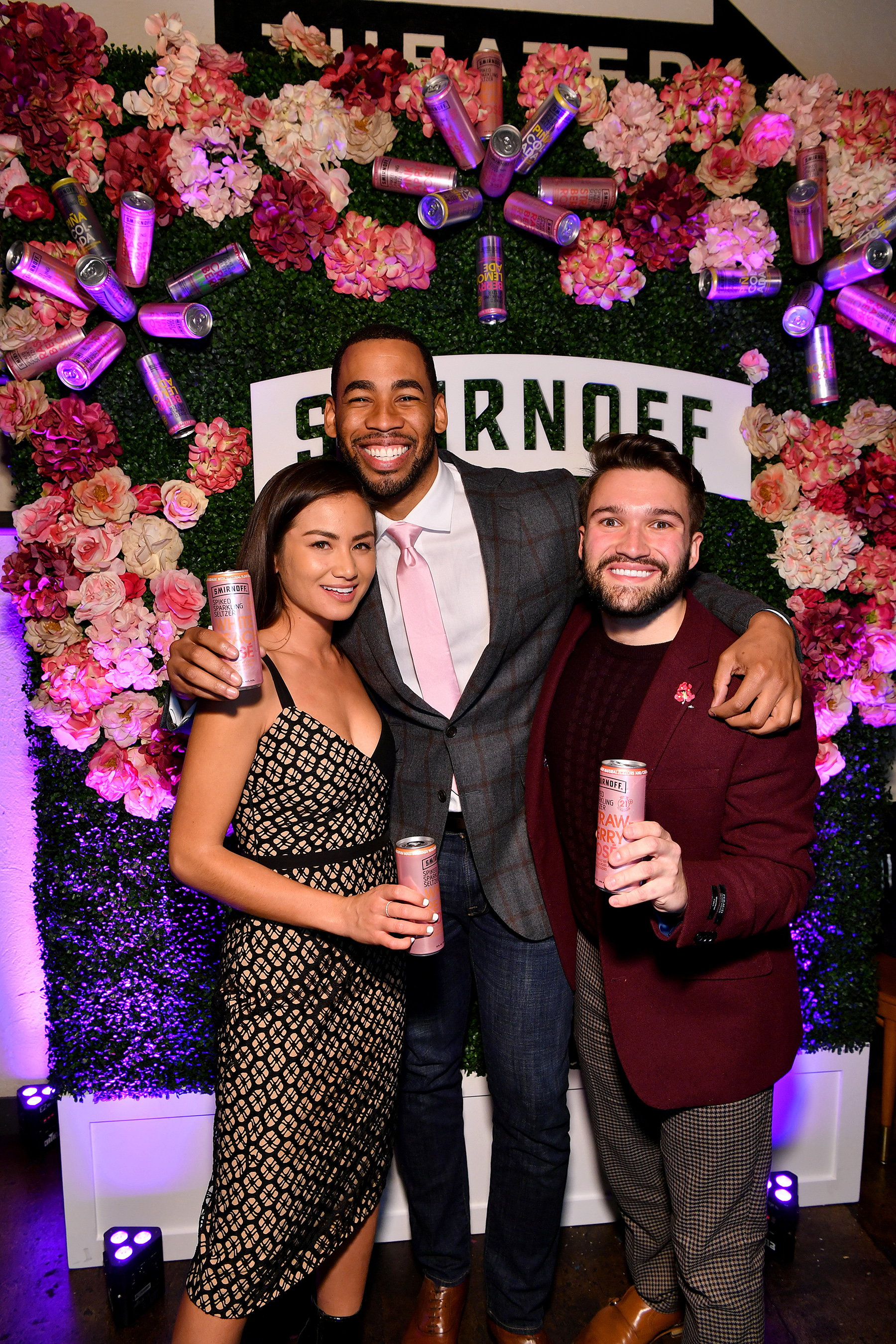 Caila Quinn, Mike Johnson and Brett Vergara attend as Smirnoff Seltzer launches new 'Will You Accept This Rosé?' Campaign on January 13, 2020 in Brooklyn, New York.