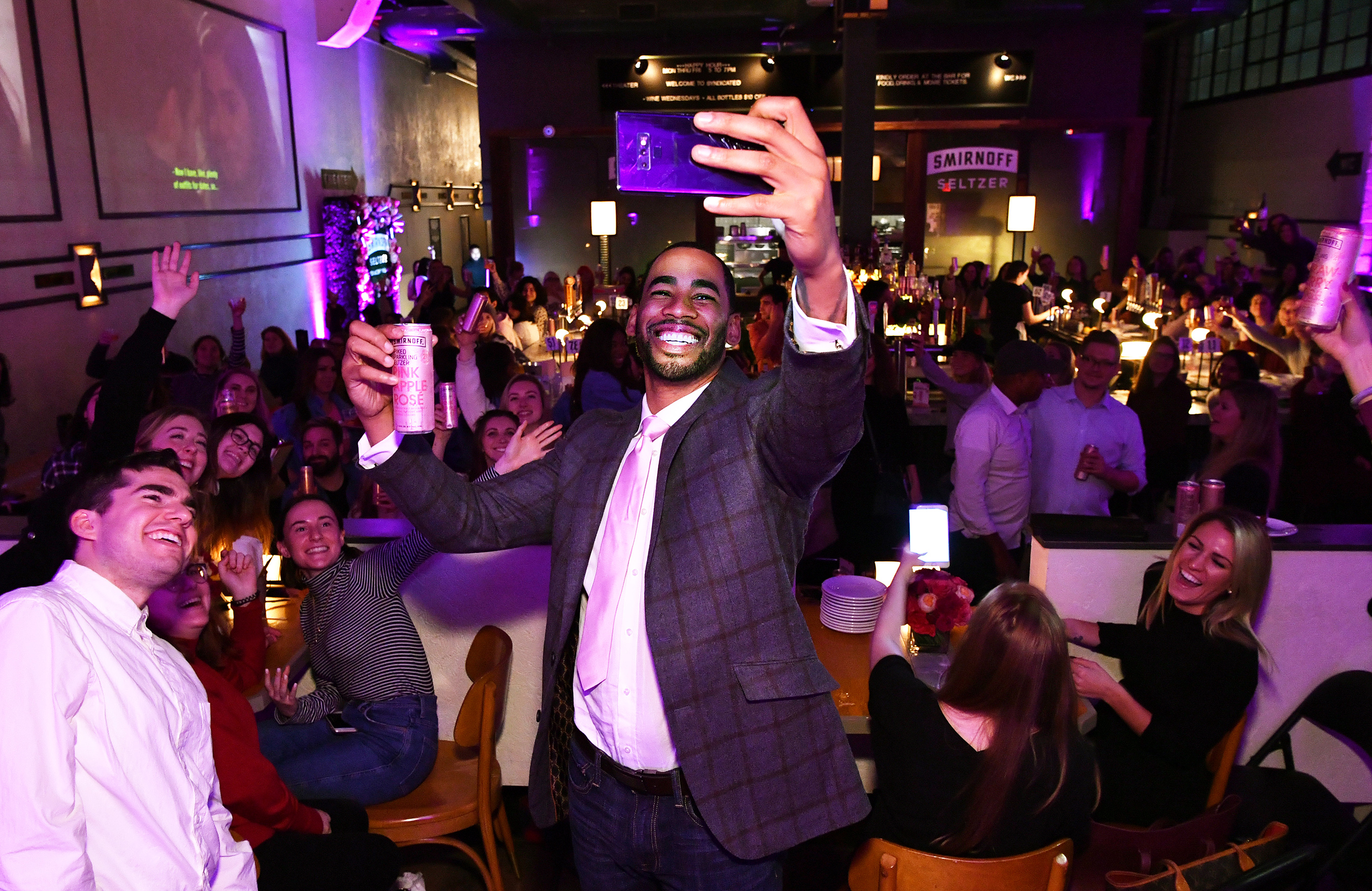 Mike Johnson invites Bachelor Super Fans to Join Him in a Toast to the Quest to Find Love with Smirnoff Seltzer Pink Apple Rosè in Brooklyn on Monday.