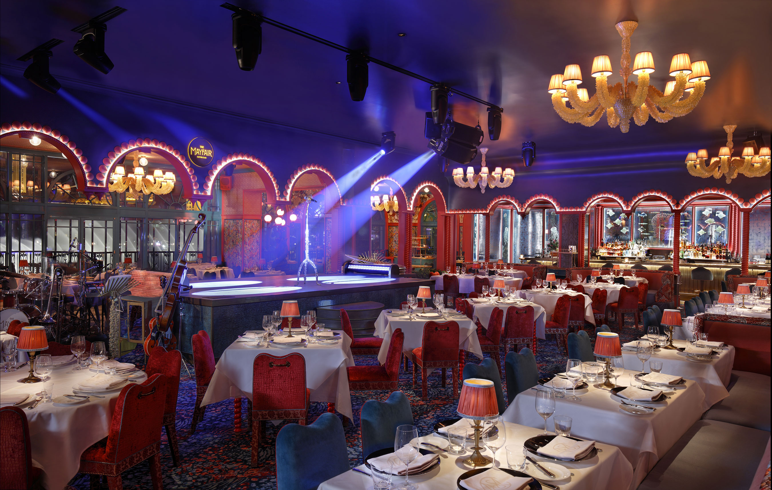 Martin Brudnizki's main dining room design at The Mayfair Supper Club draws inspiration from the whirlwind glamour of old Vegas and Hollywood, and the restaurant's waterfront locale.
