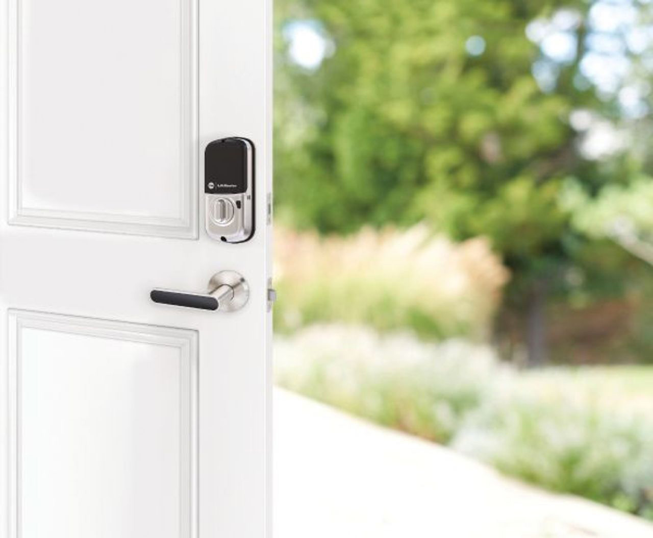 A smart myQ-connected key-free deadbolt. Pair with included Lock Wi-Fi® Bridge to lock and unlock from your smartphone – no matter where you are.