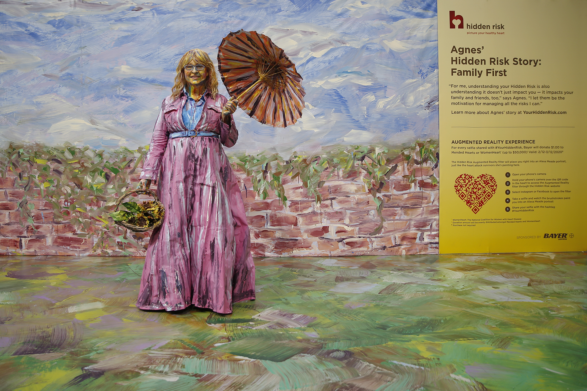 "To kick off the campaign, Bayer commissioned artist Alexa Meade to paint three different heart attack survivors, including Agnes, ""hidden"" into their own customized murals to bring to life each person's story of survival."