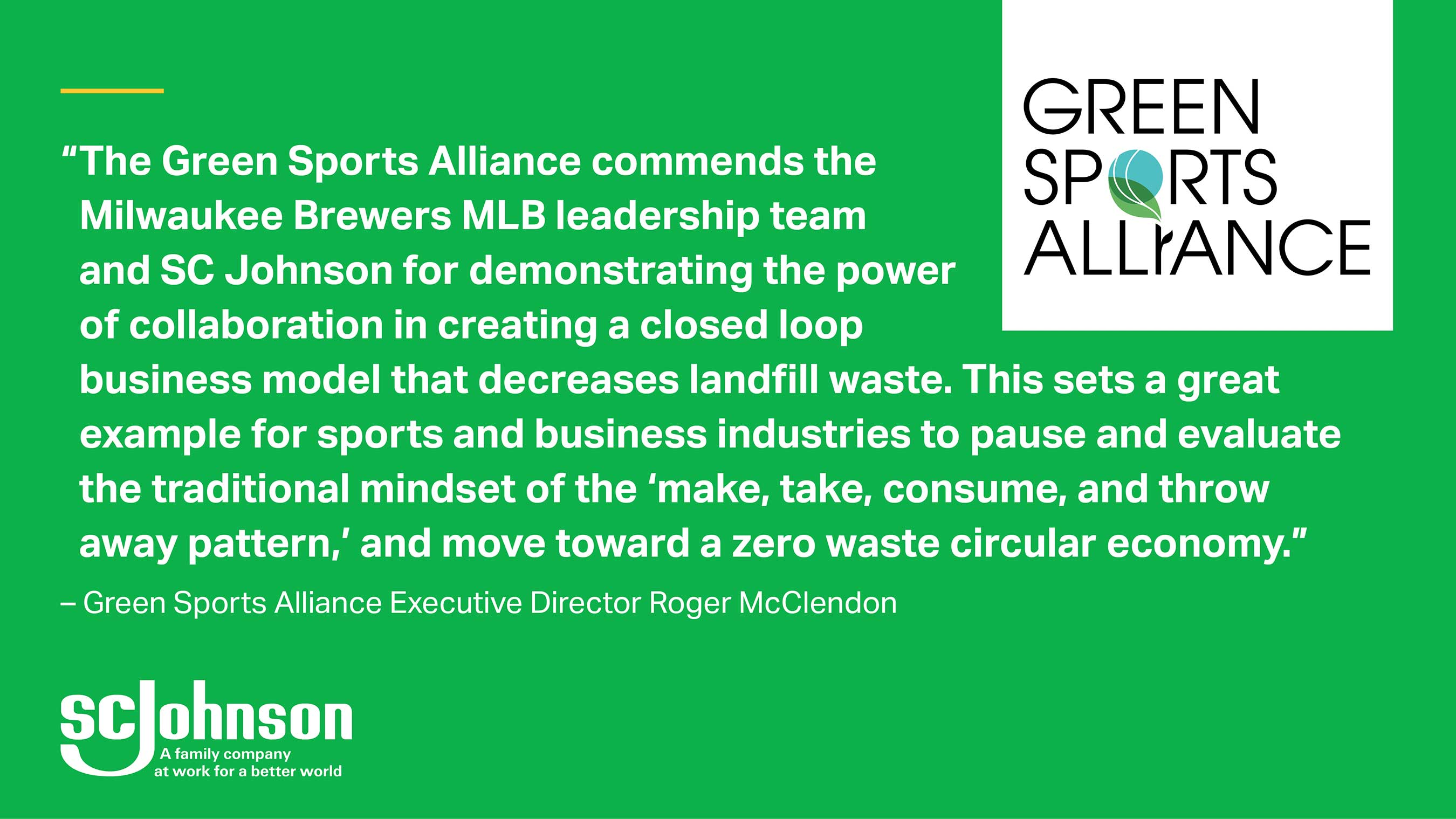 The Green Sports Alliance supports professional sports recycling and sustainability efforts.