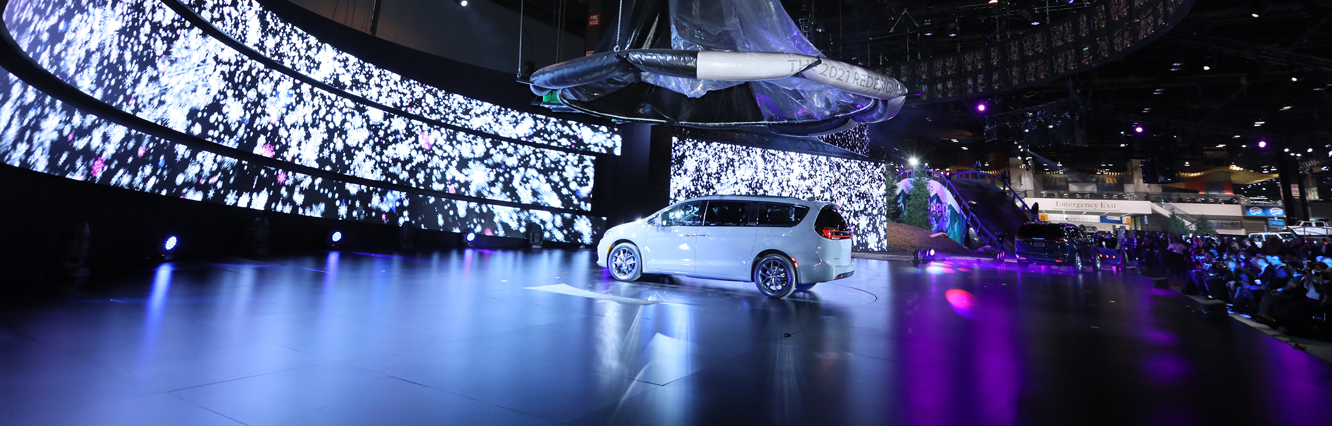 A white 2020 Chrysler Pacifica on stage at the 2020 Chicago Auto Show