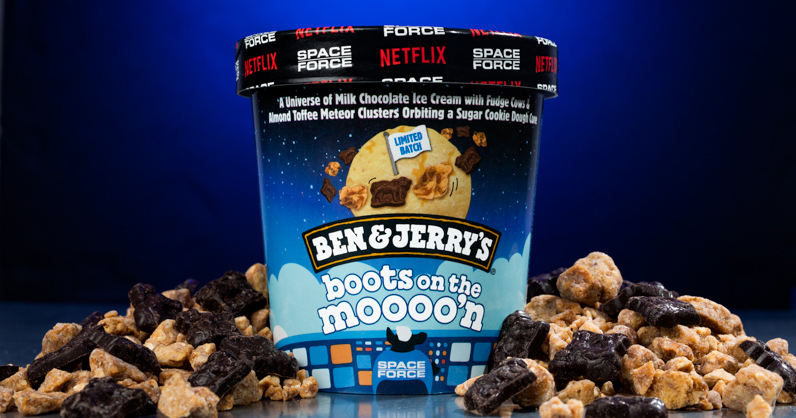 Ben & Jerry's launches Boots On the Moooo'n with Netflix original series Space Force.