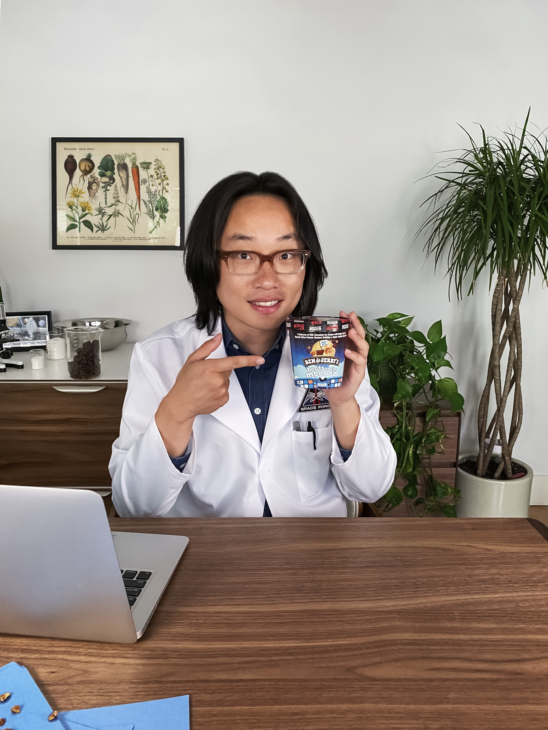 Excited to join forces with Ben & Jerry's on the Space Force flavor launch is comedian, actor, and Space Force cast member Jimmy O Yang.