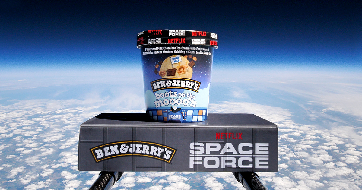 Ben & Jerry's launches new Boots on the Moooo'n into the stratosphere to celebrate flavor with the Netflix original series Space Force.