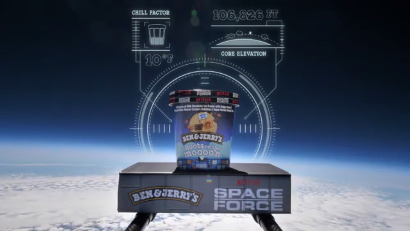 Check out the exciting launch footage of the new Ben & Jerry's flavor Boots on the Moon with the Netflix original series Space Force.