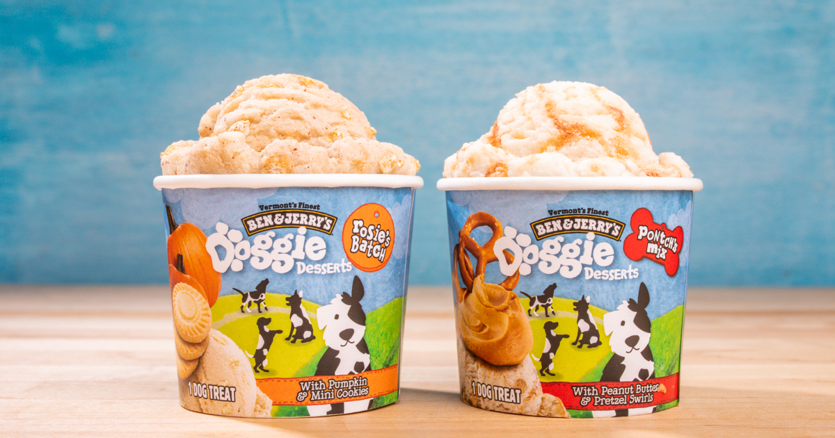 Doggie Desserts are available in 4-oz. mini cups in two flavors: Pontch's Mix and Rosie's Batch. Learn more at Benjerry.com